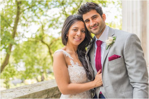 Wedding photographer for One Whitehall Place, London portrait shot of stunning couple