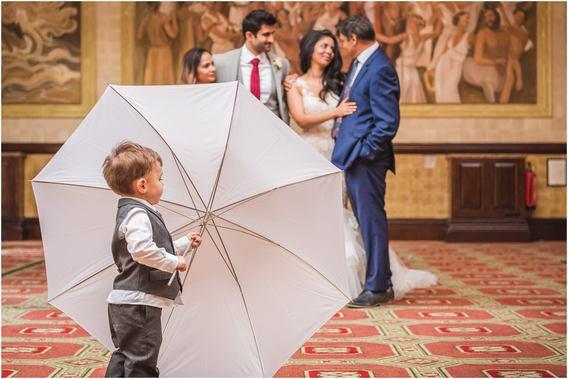 Photographer umbrella being put to good use