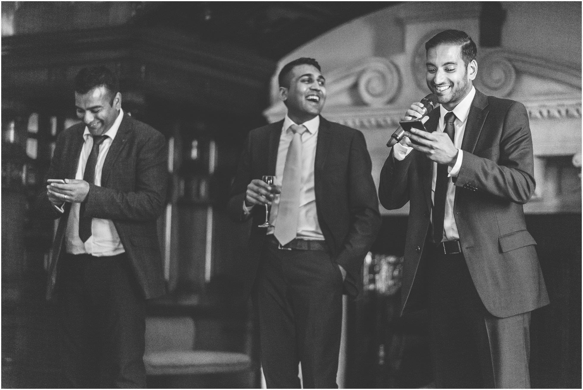 The best men delivering their wedding speech.