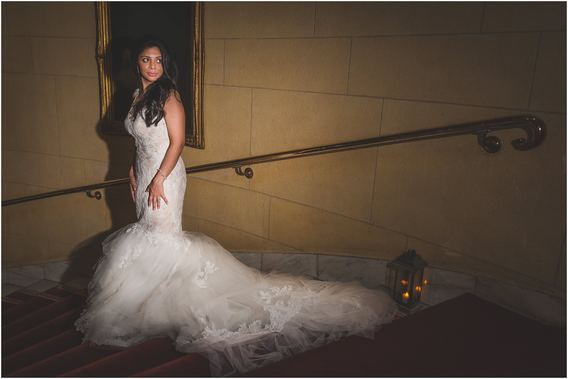 Bride portrait on the stairs of One Whitehall Place