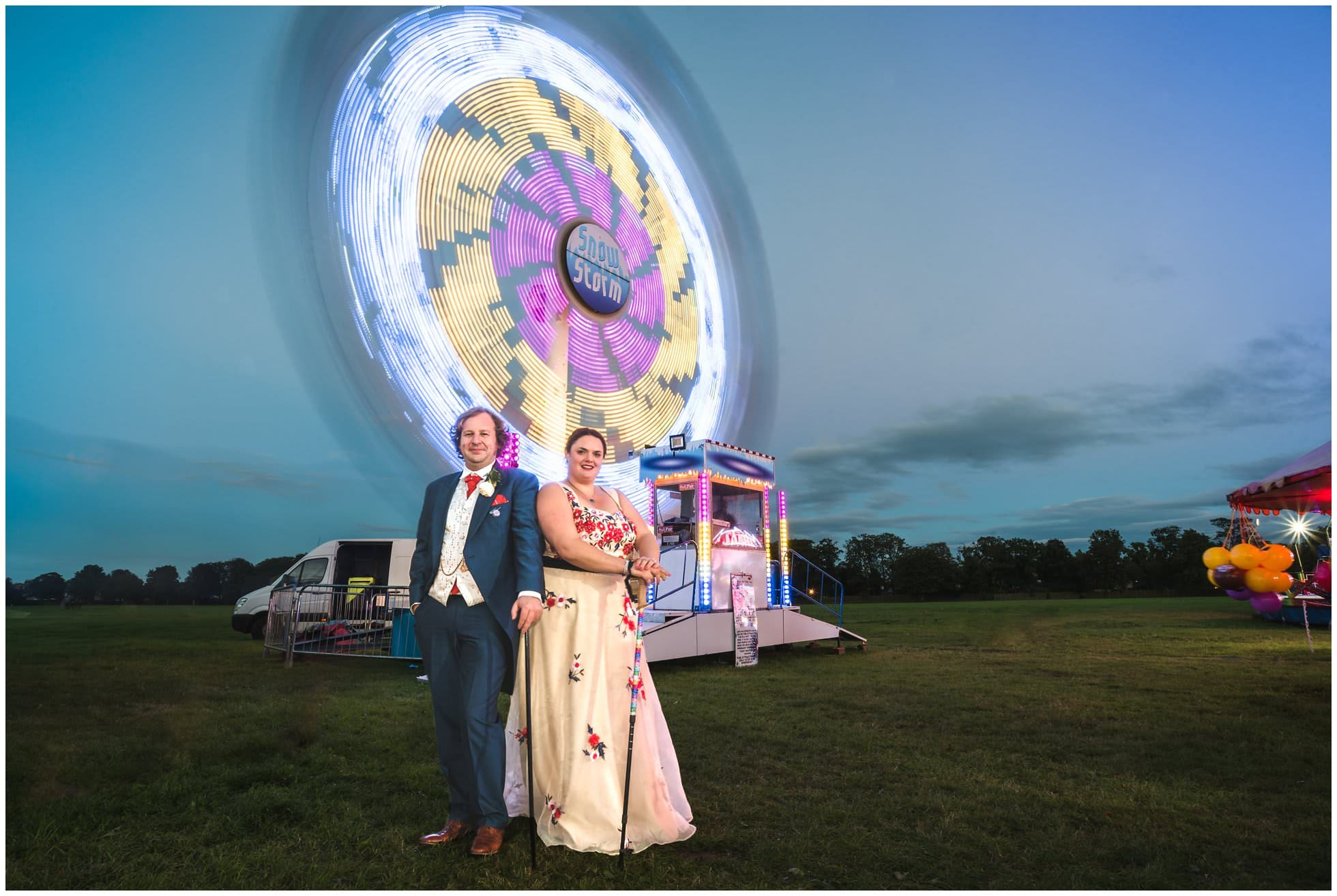 Wedding photography at a fun fair in North Yorkshire!
