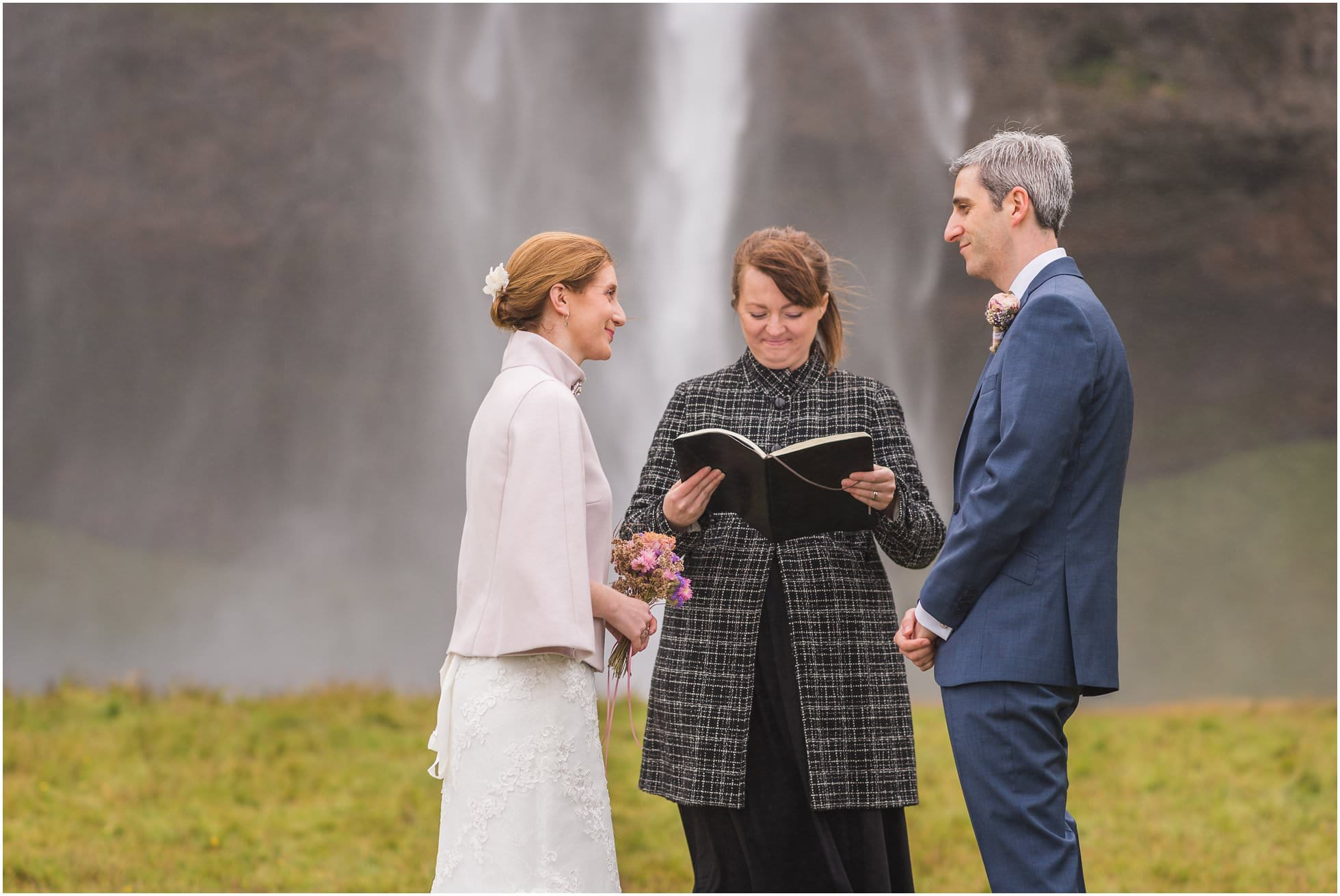 Iceland Elopement ceremony at Seljalandsfoss waterfall