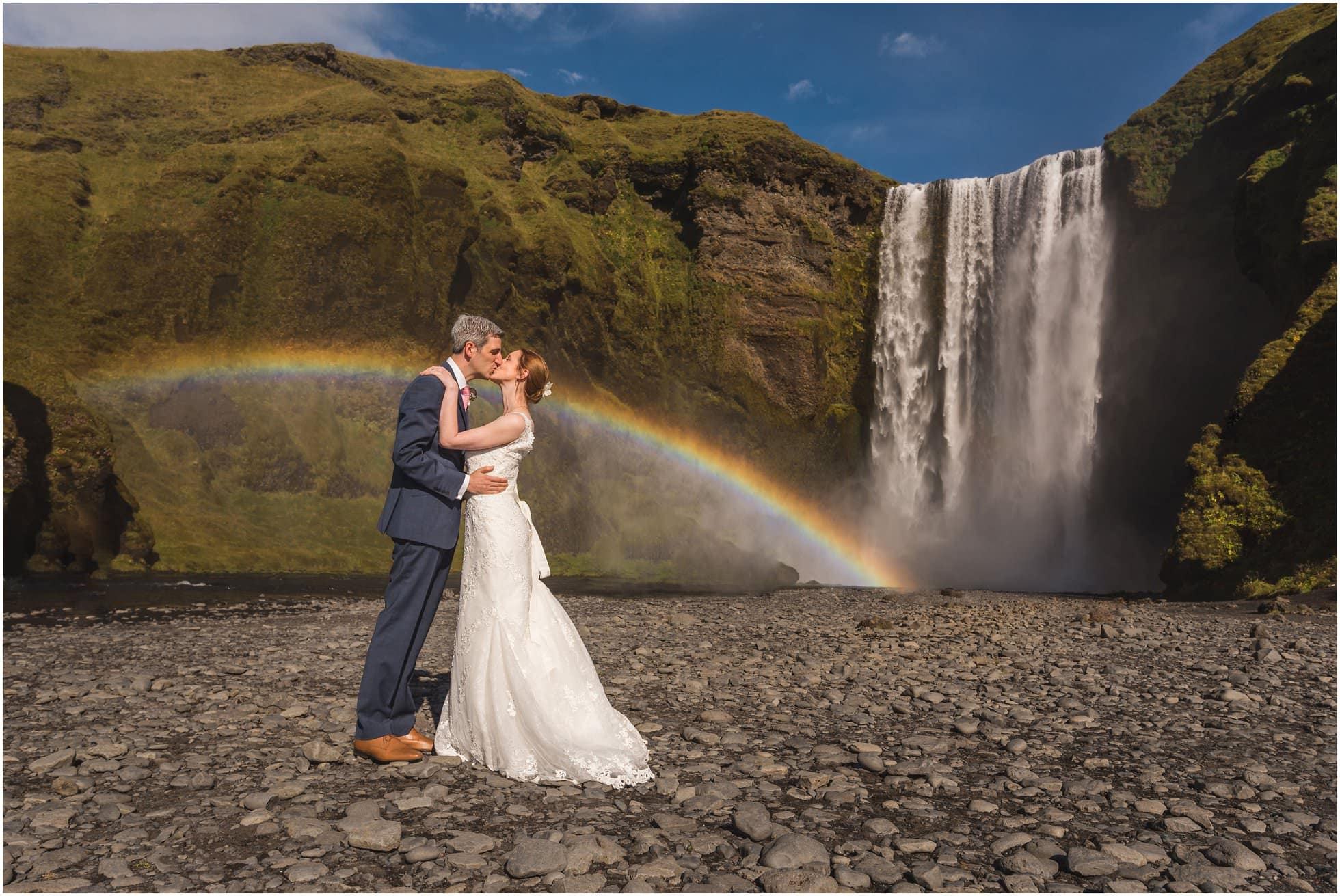 English speaking Iceland Wedding Photographer image of Skógarfoss rainbow waterfall