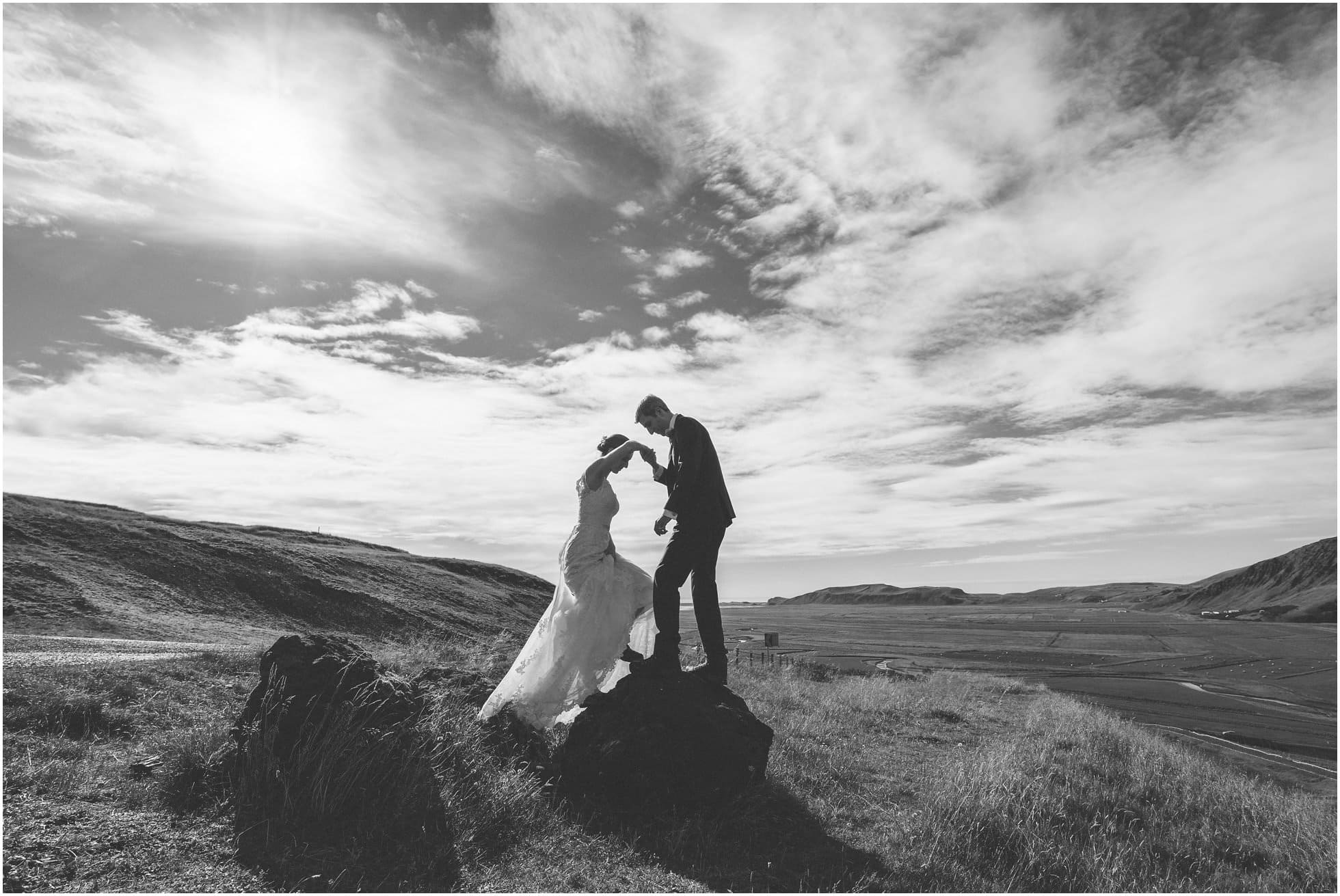 Fun natural and epic wedding photograph in Iceland