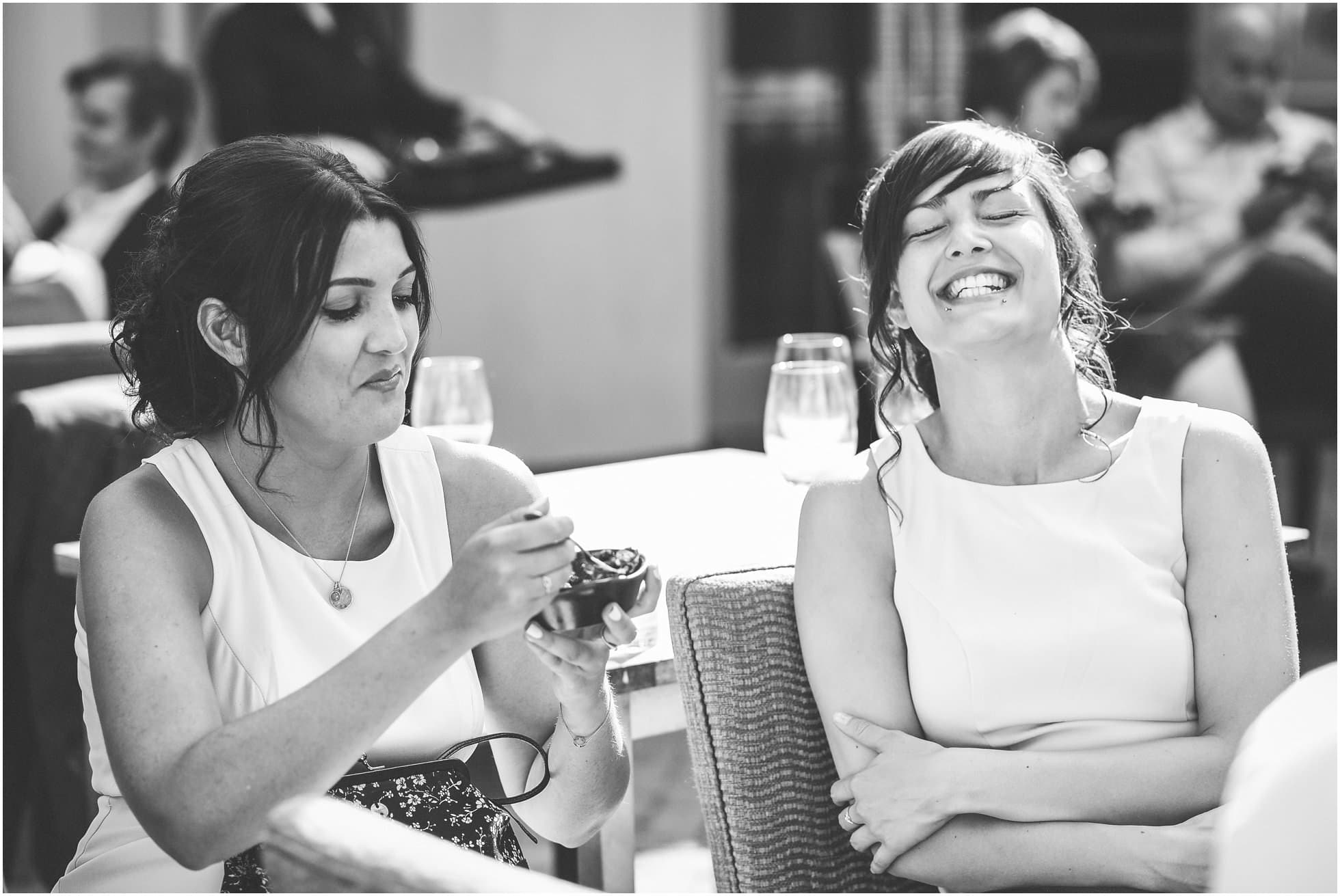 Laughter of guests at Maison Talbooth Wedding