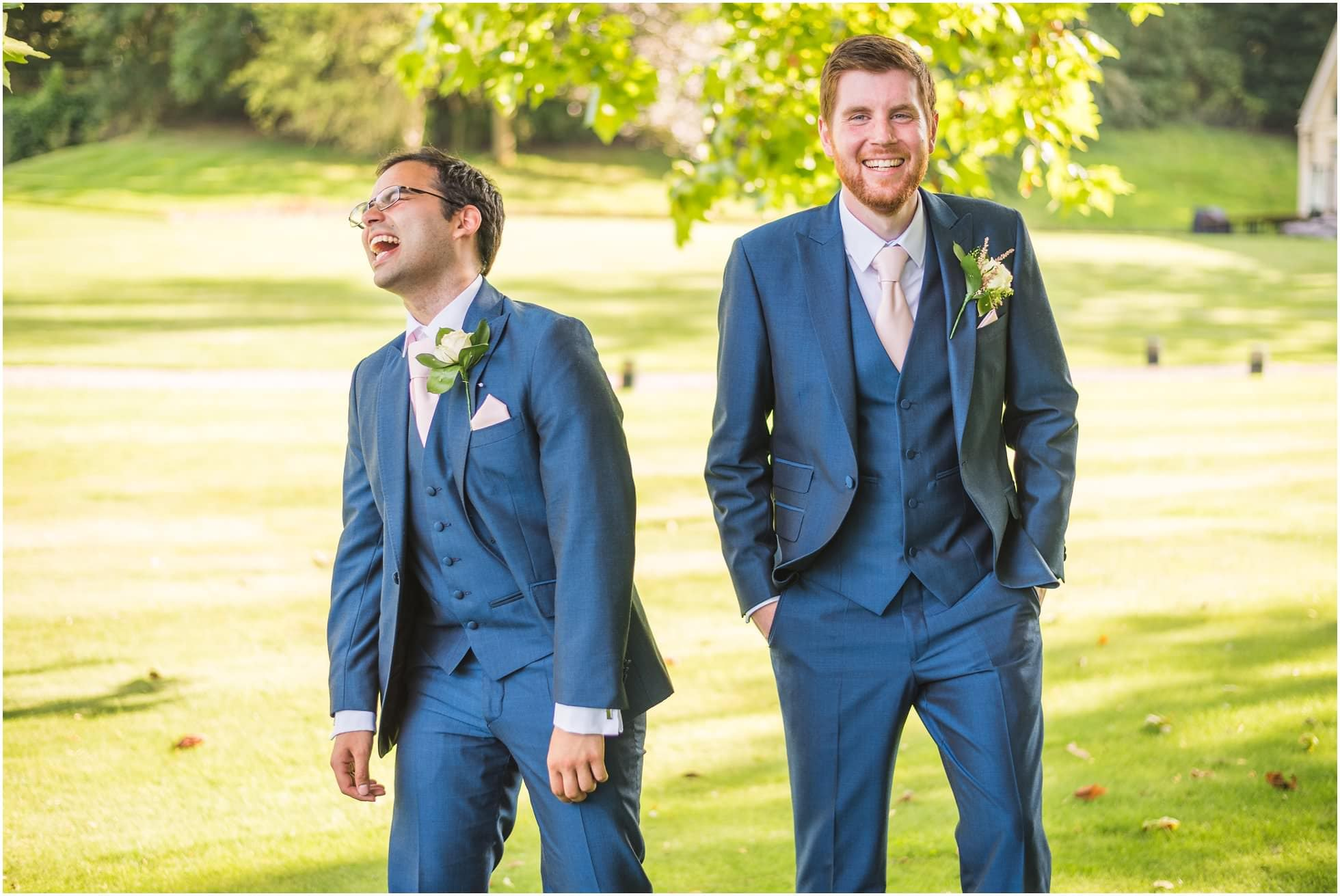 Maison Talbooth gardens with the groom and bestman