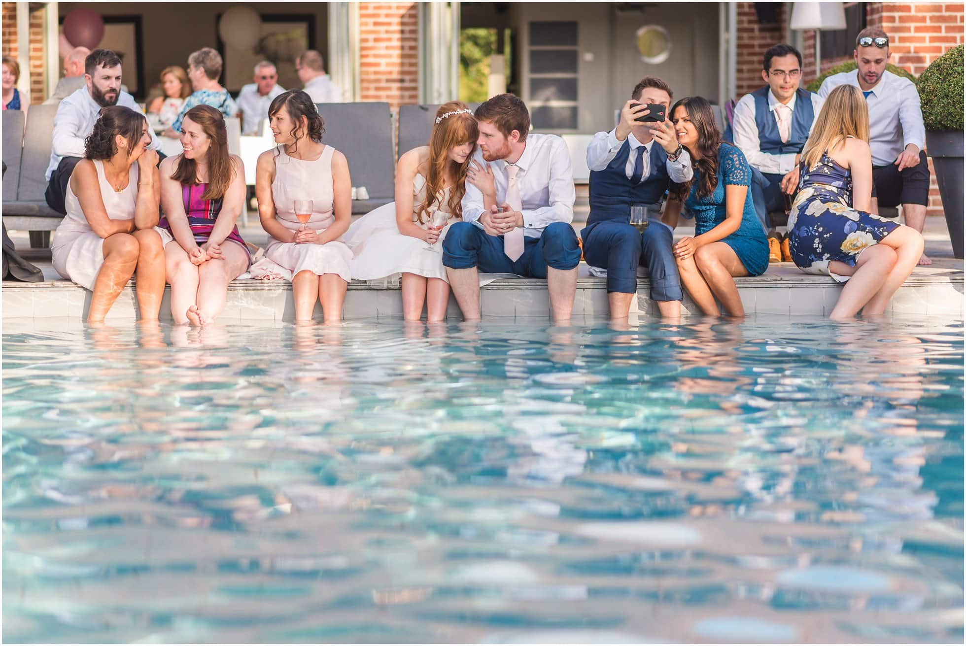 Maison Talbooth Pool Wedding Photographer