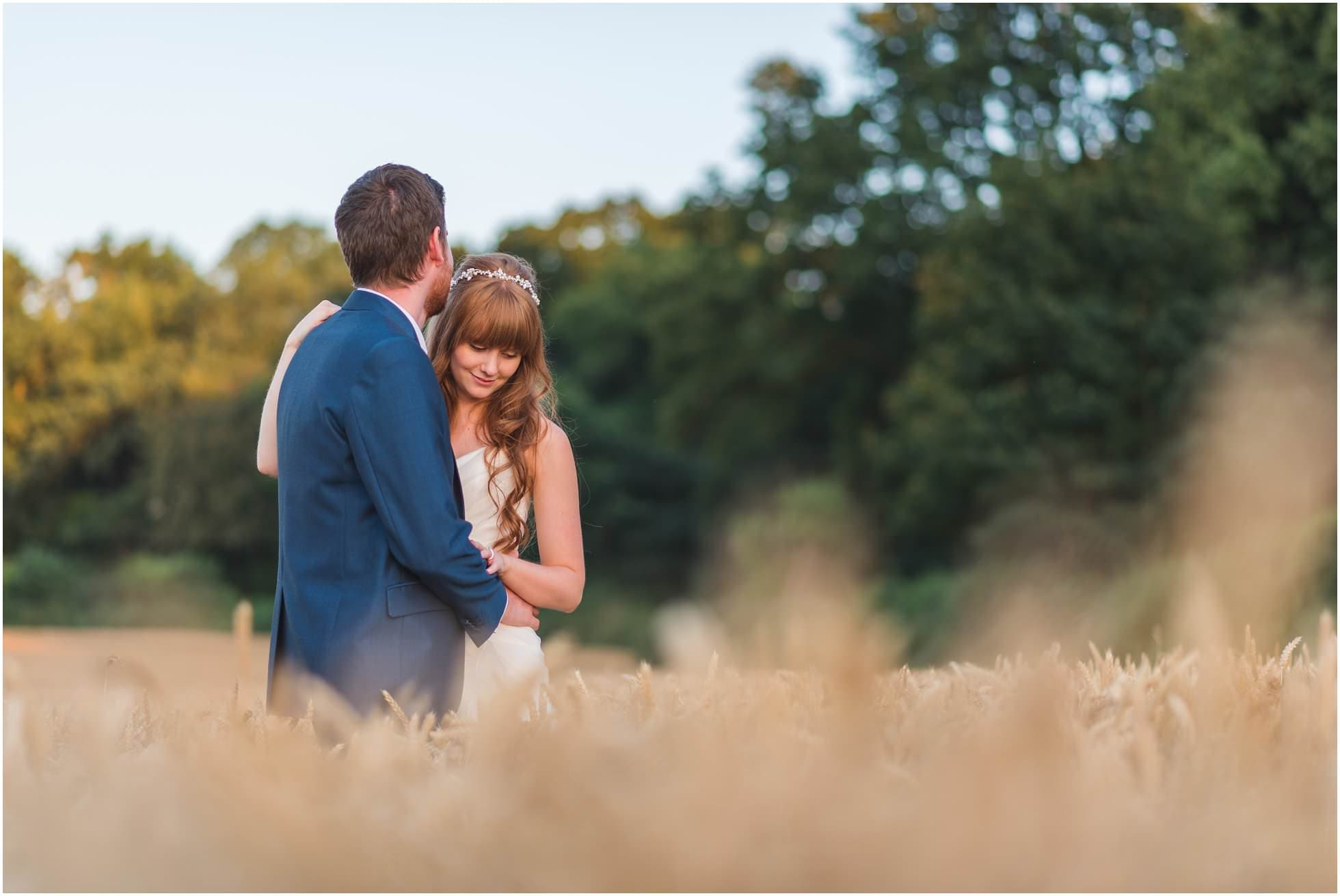 Maison Talbooth Wedding Photographer shot of gorgeous couple in the corn field