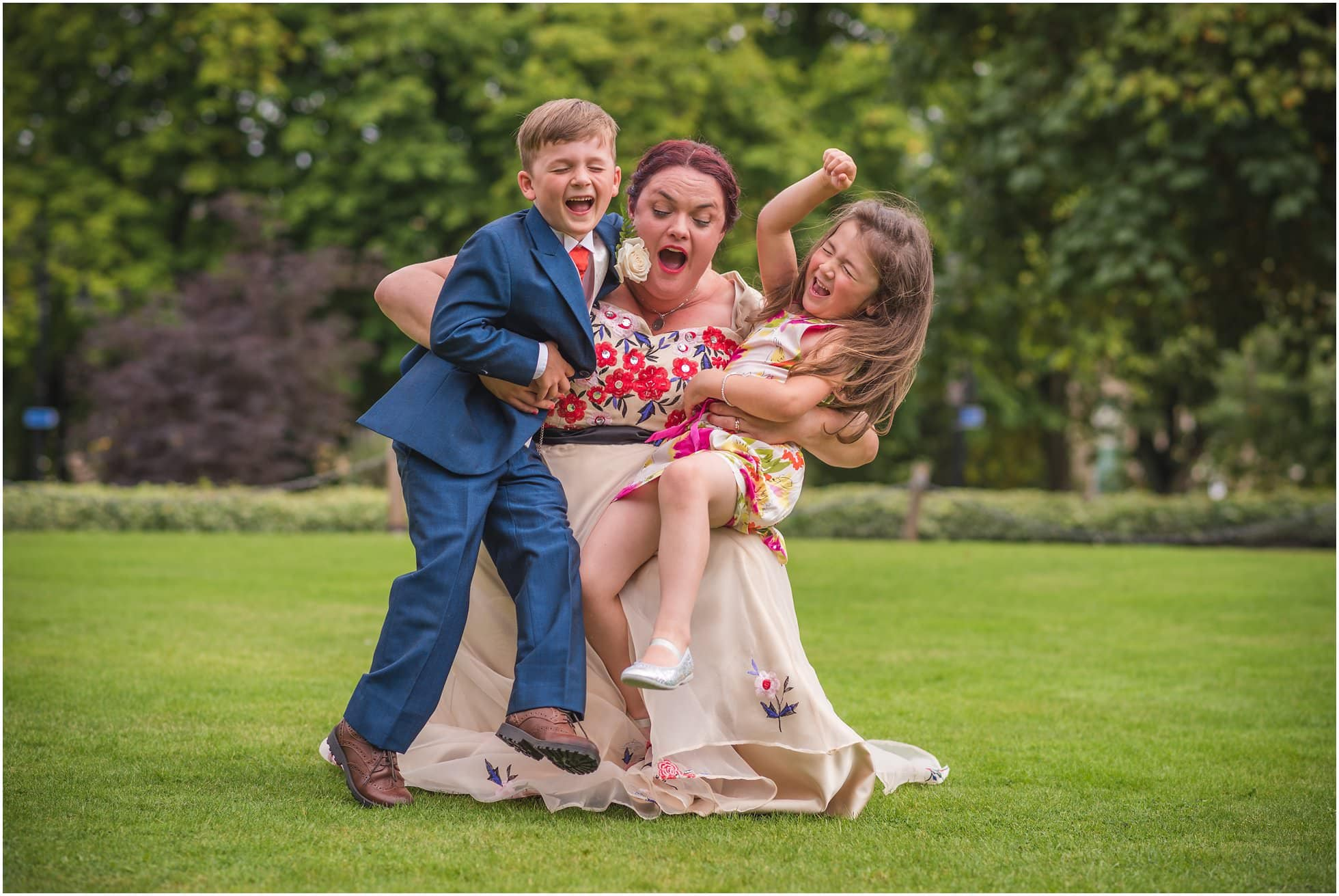 Harrogate bride and her nephew and niece