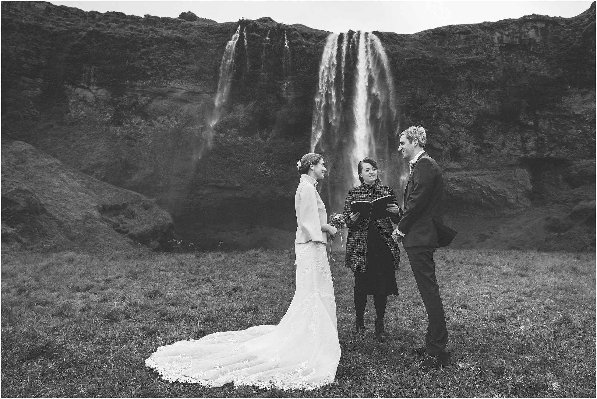 Wedding ceremony in front of Seljalandsfoss Iceland