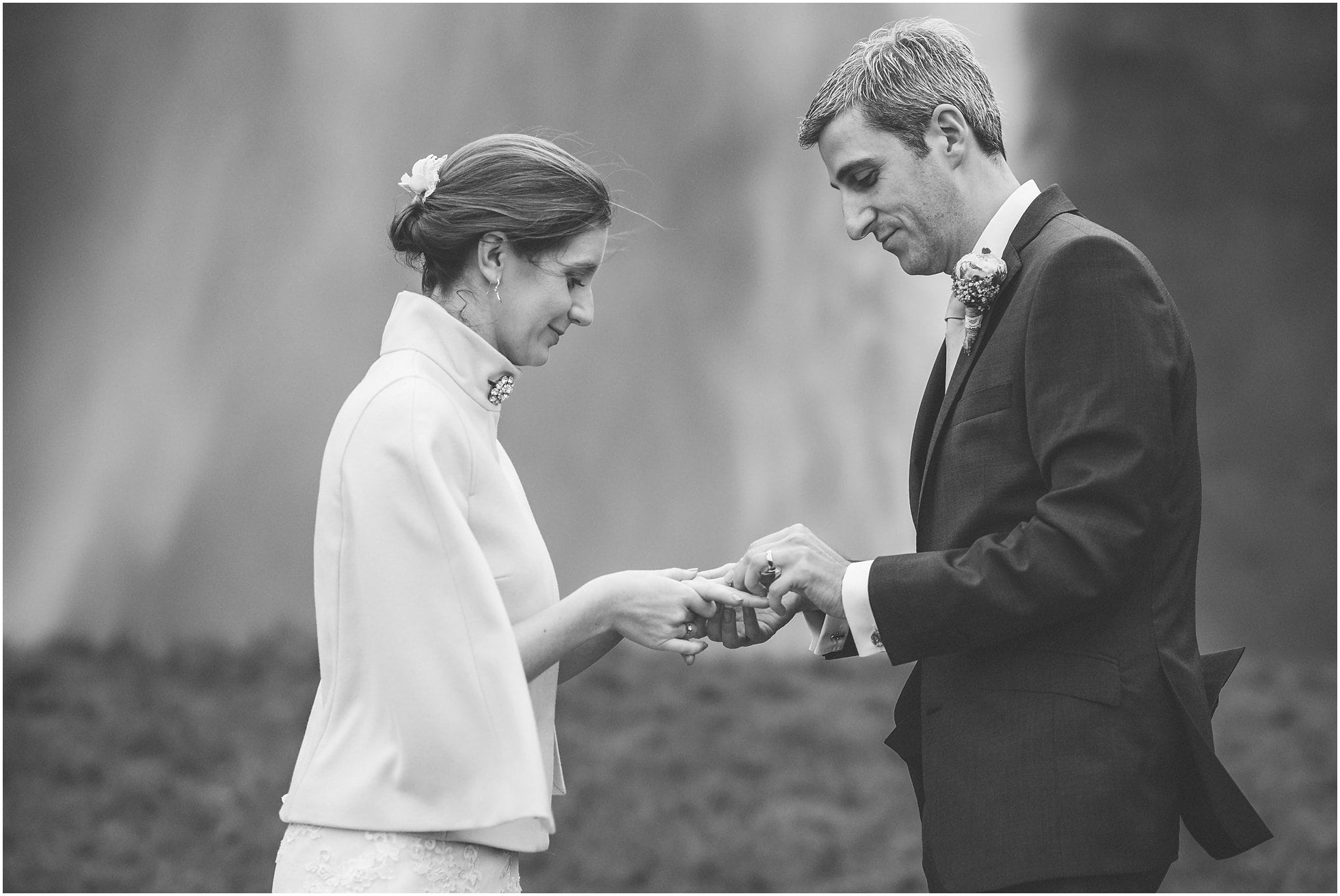 Exchanging of rings in front of Seljalandsfoss