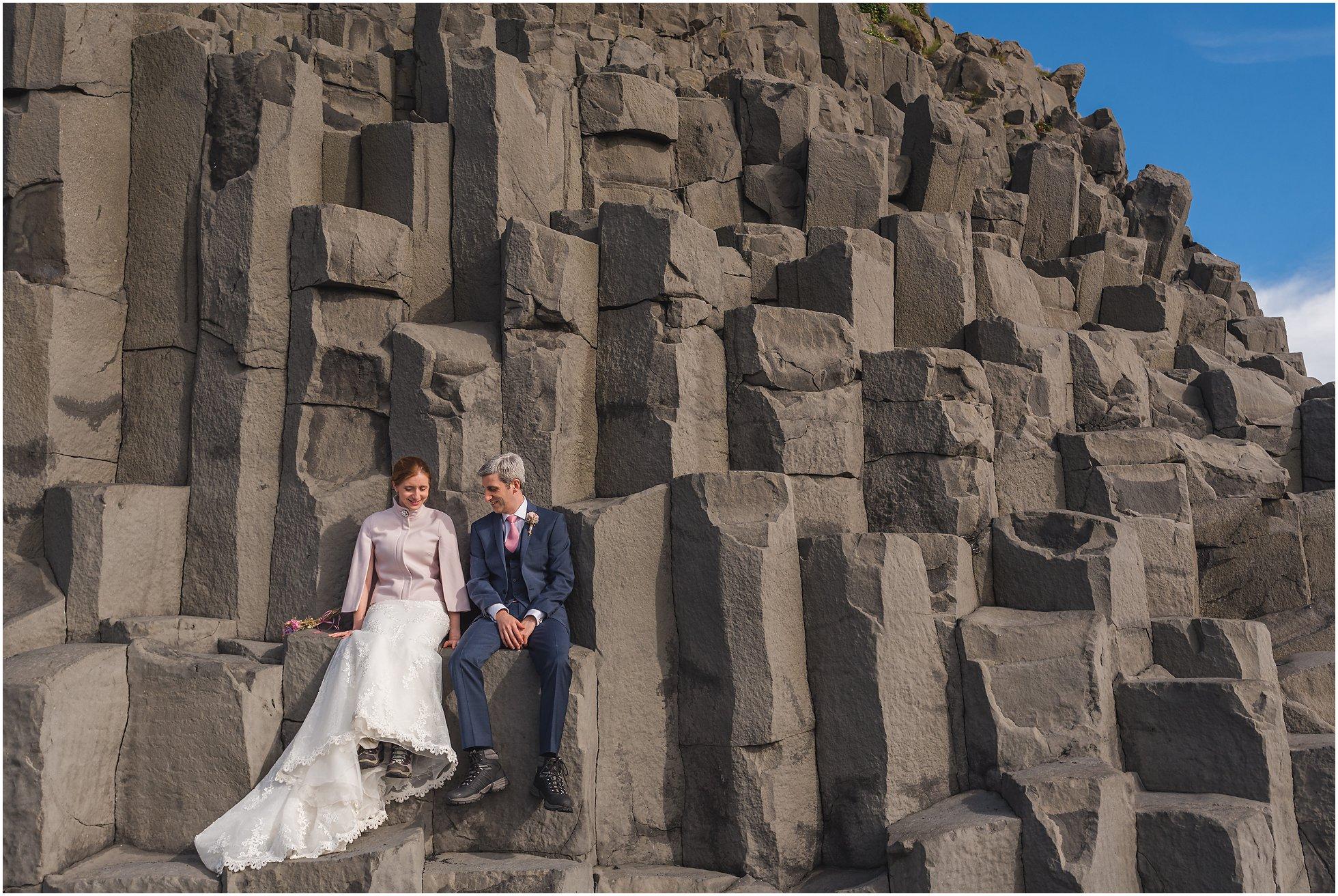 Reynisfjara rock formation wedding photography
