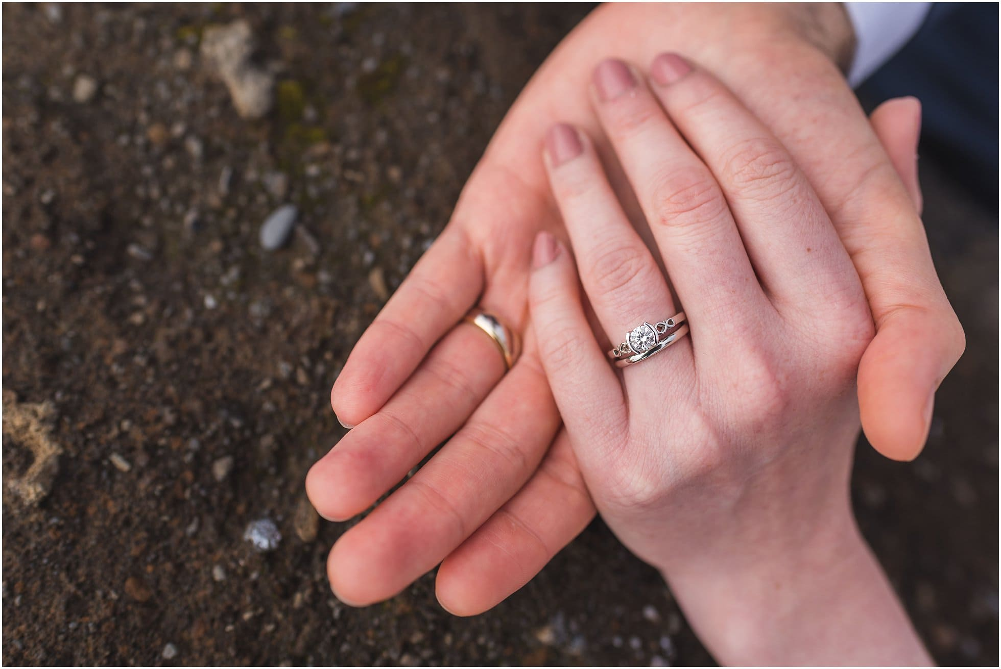 Volcanic rock and wedding rings