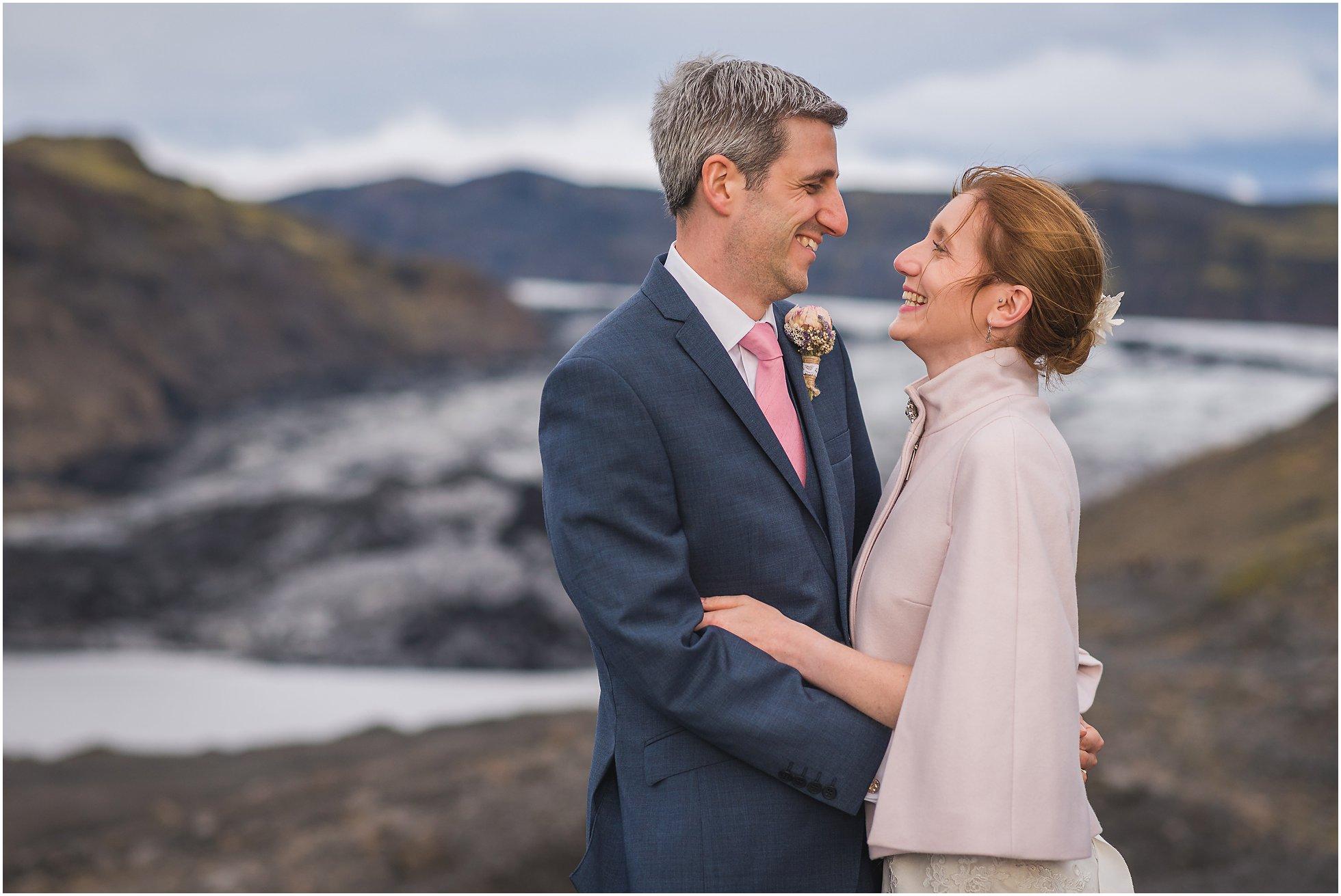 Sólheimajökull glacier with bride and groom