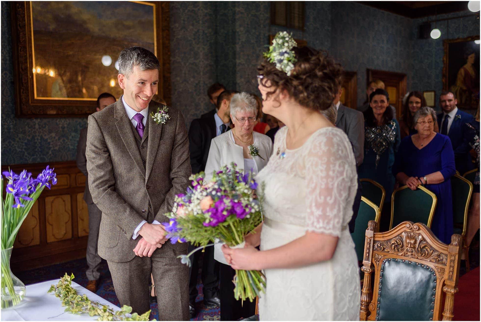 Groom blown away by stunning bride