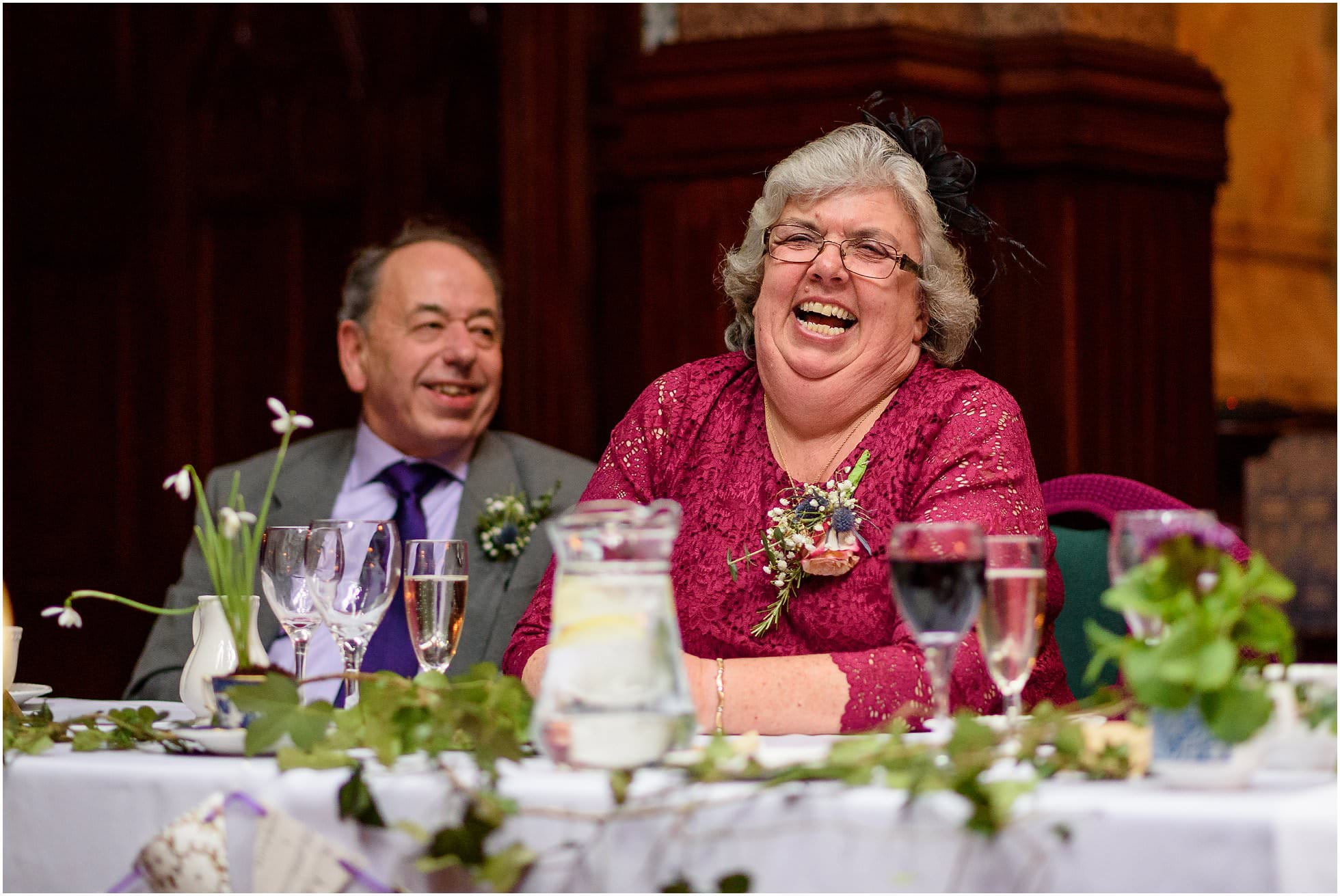 Raucous laughter during the speeches