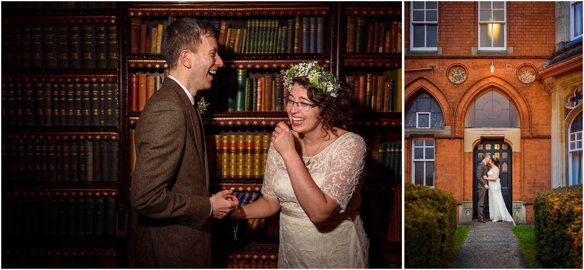 Highbury Hall Wedding Photographer shooting Bride and groom fun portraits