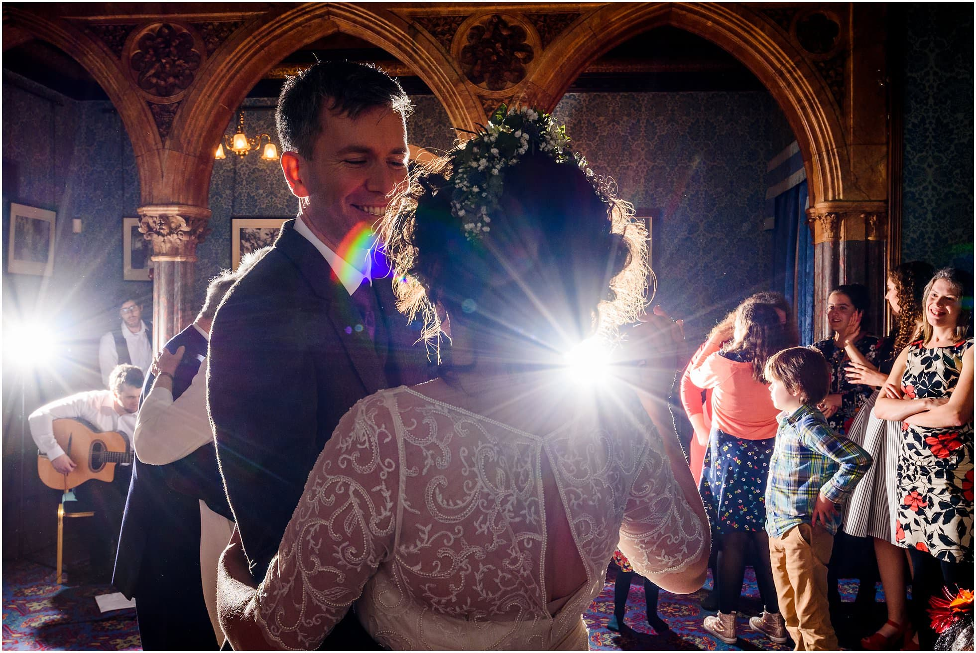 First dance colour with light bursting through
