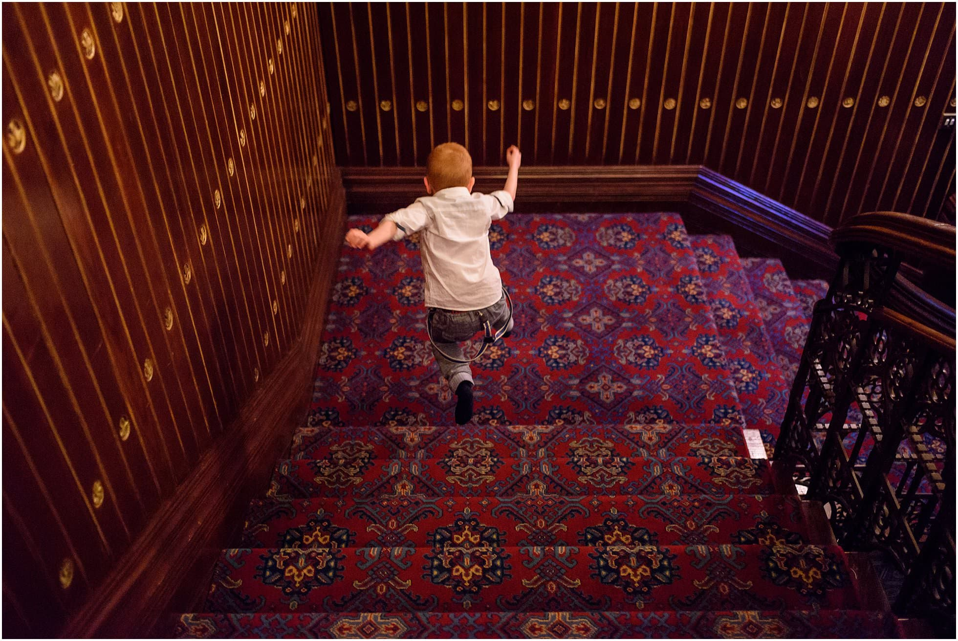 Flying down the stairs!