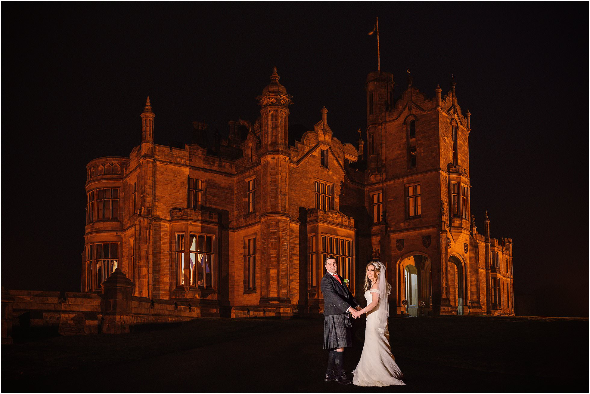 Allerton Castle Wedding Photographer shot of the castle at night-time