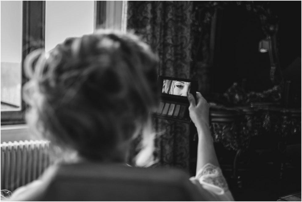 Bridal prep mirror shot in North Yorkshire