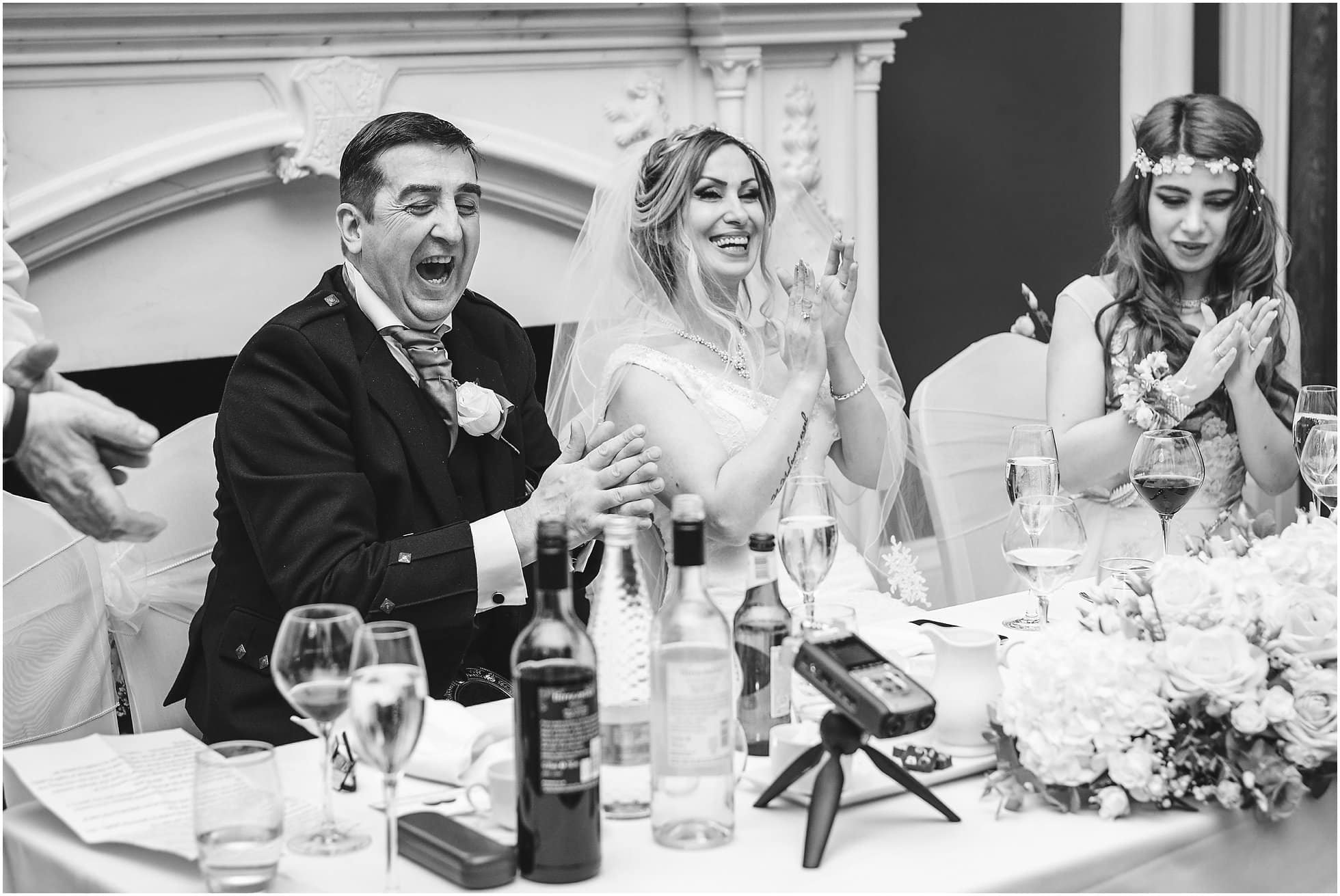 Laughter during the speeches at an Allerton Castle Wedding