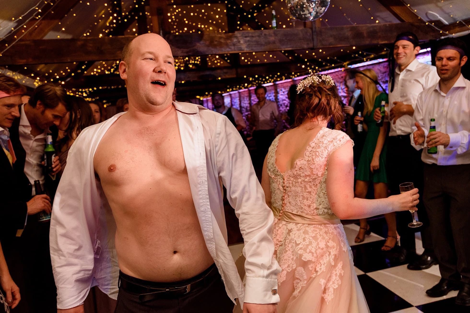 Groom gets topless!