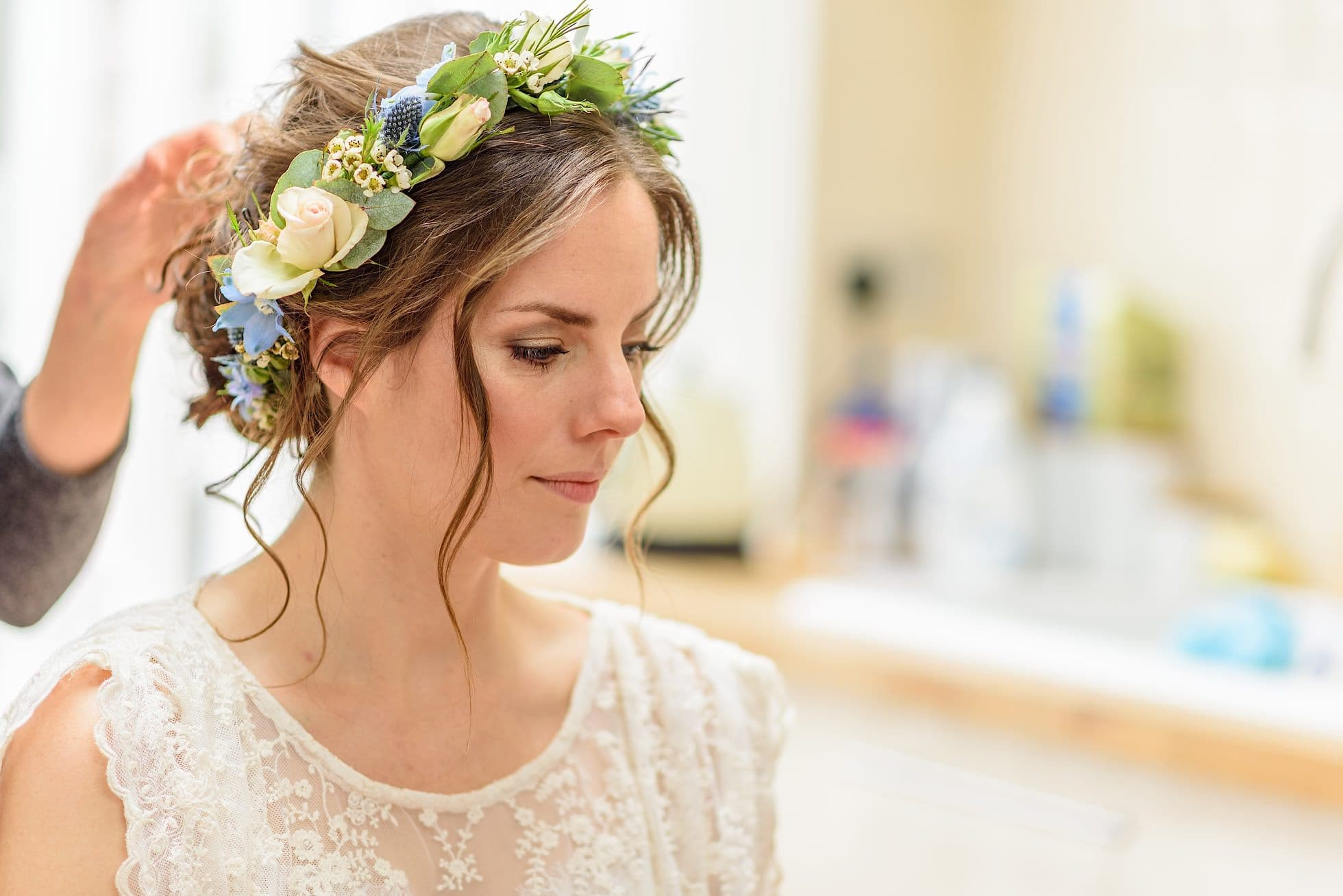 Bride looking amazing with flower head dress