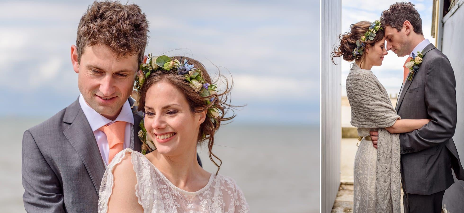 Wedding portraits on Whitstable beach