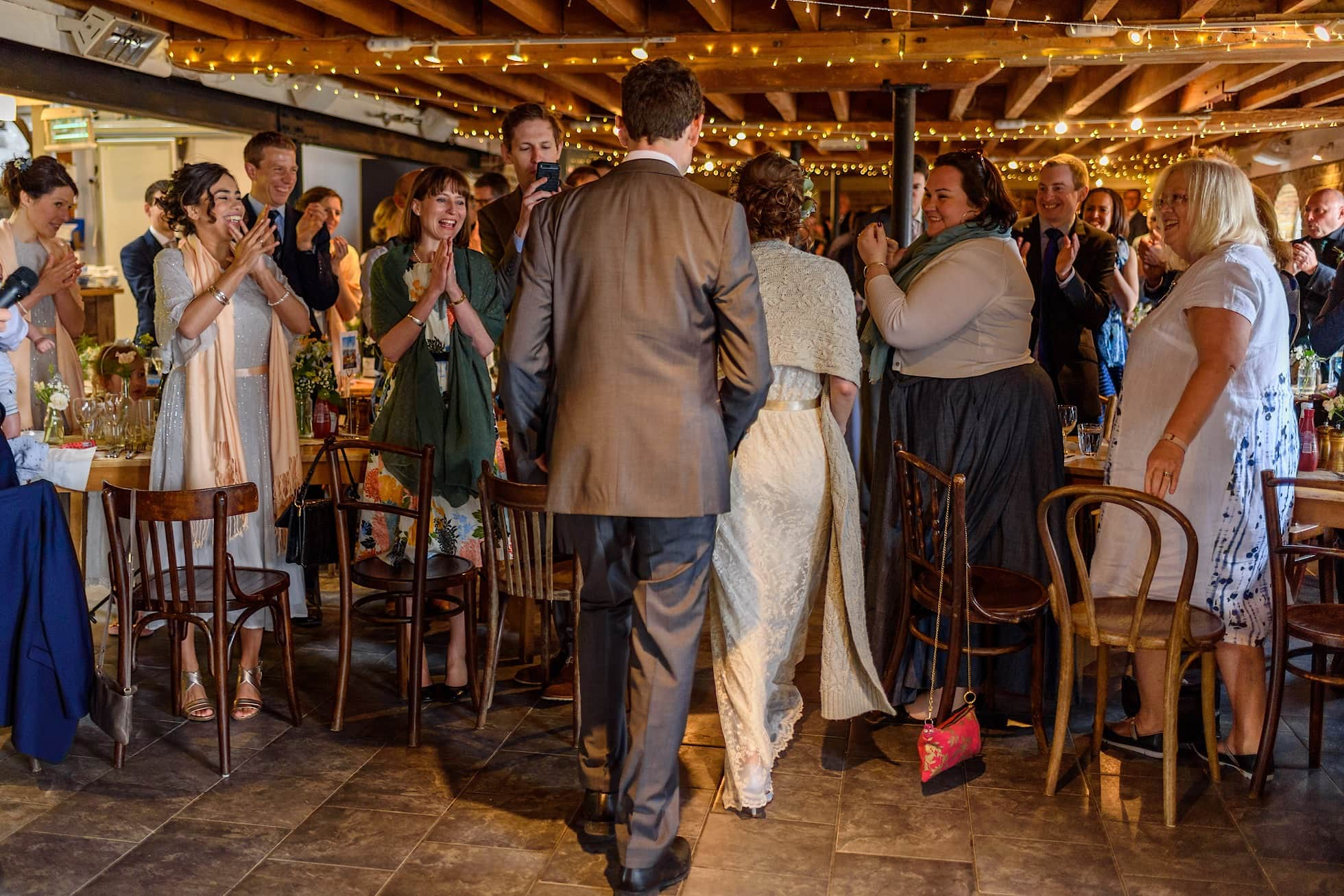 Standing ovation for the bride and groom