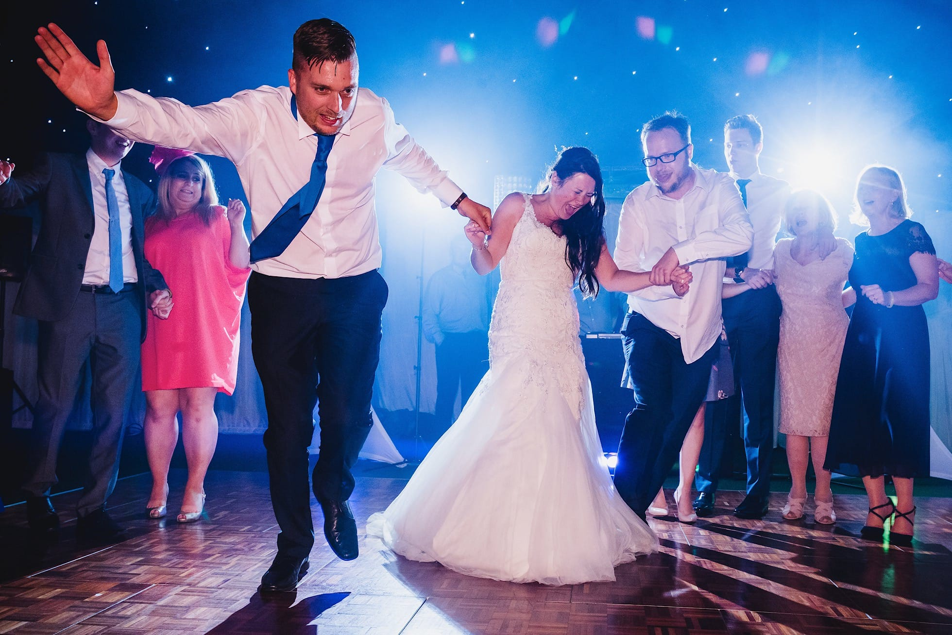 Bride on the dancefloor at Mangapp Manor Burnham-on-Crouch