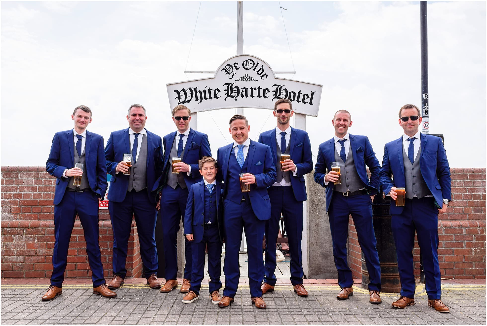 Groomsmen outside the White Harte Hotel, Burnham-on-Crouch