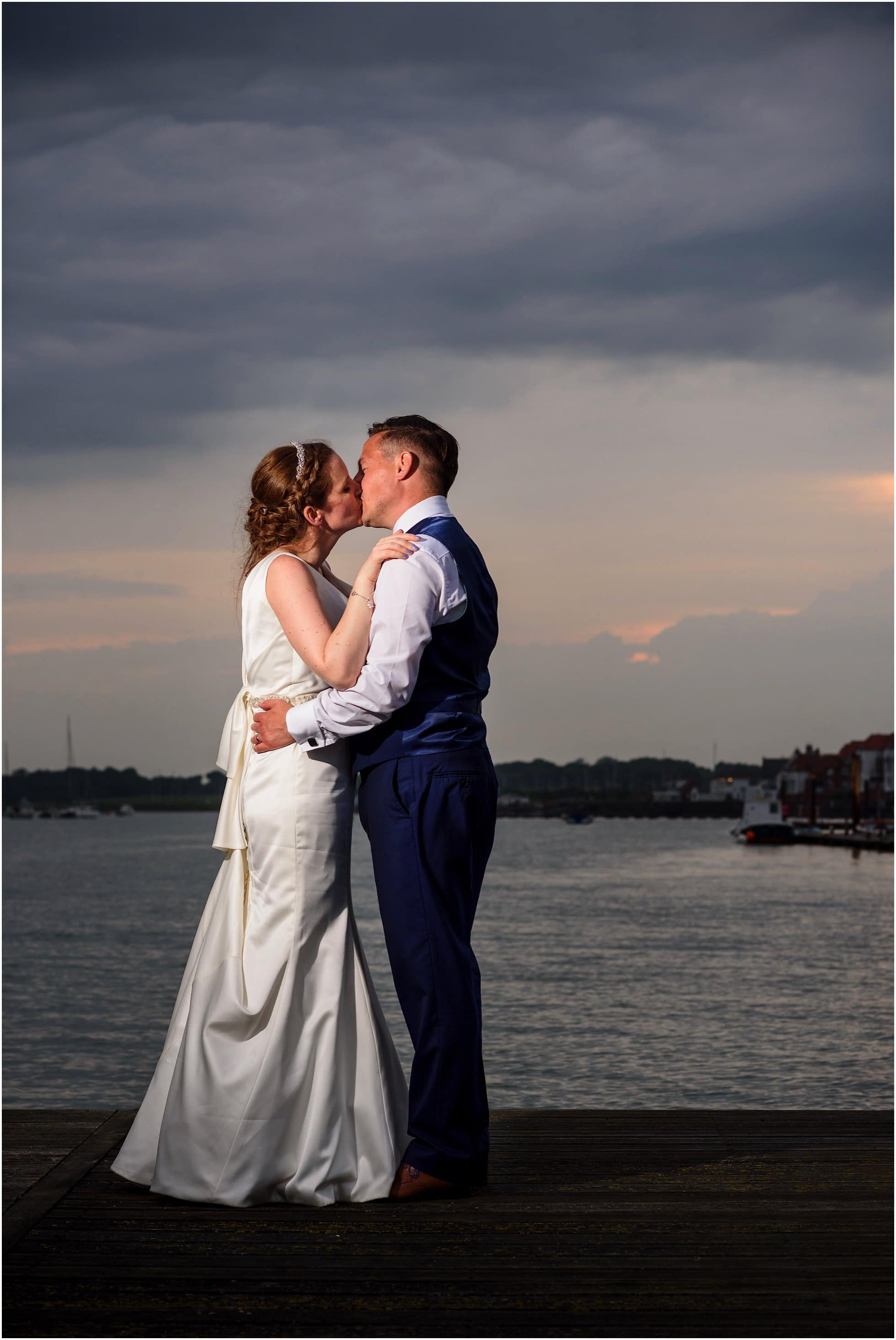 Groom and Bride at sunset at a Royal Corinthian Yacht Club Wedding