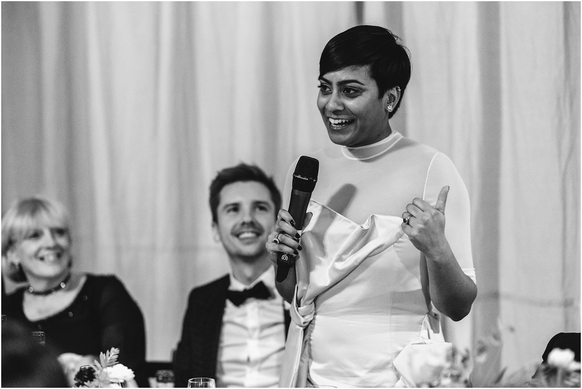 Bride giving a speech at Brixton East