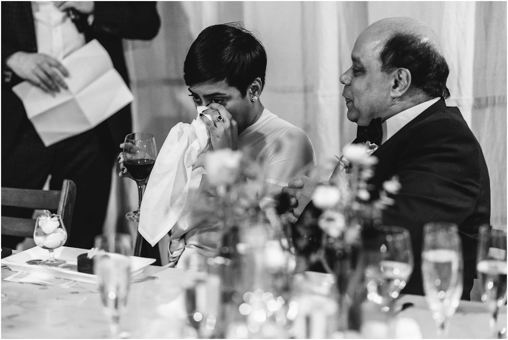Tears during the speeches at Brixton East Wedding reception
