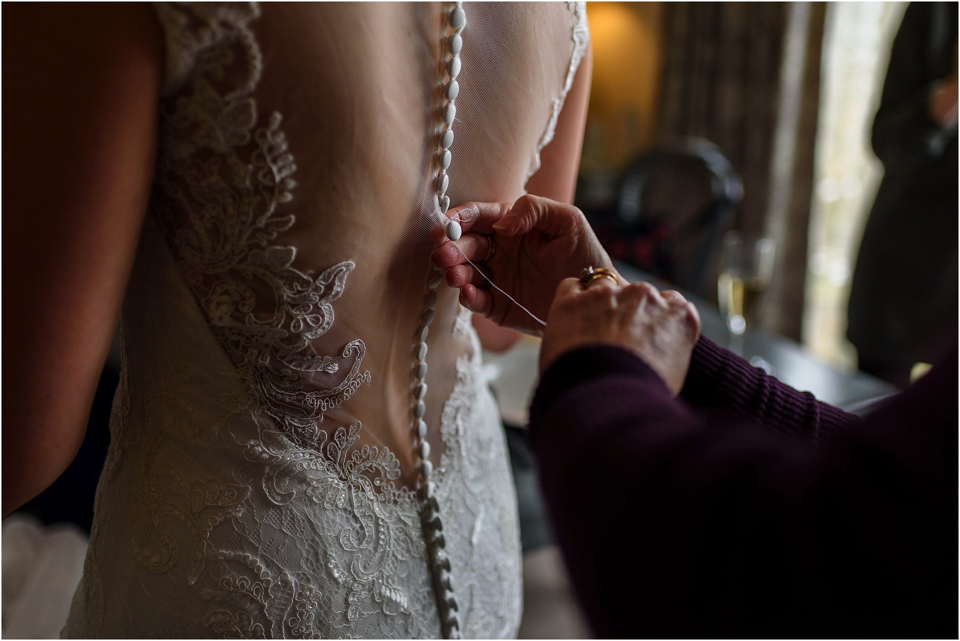 Fixing the dress just before the wedding