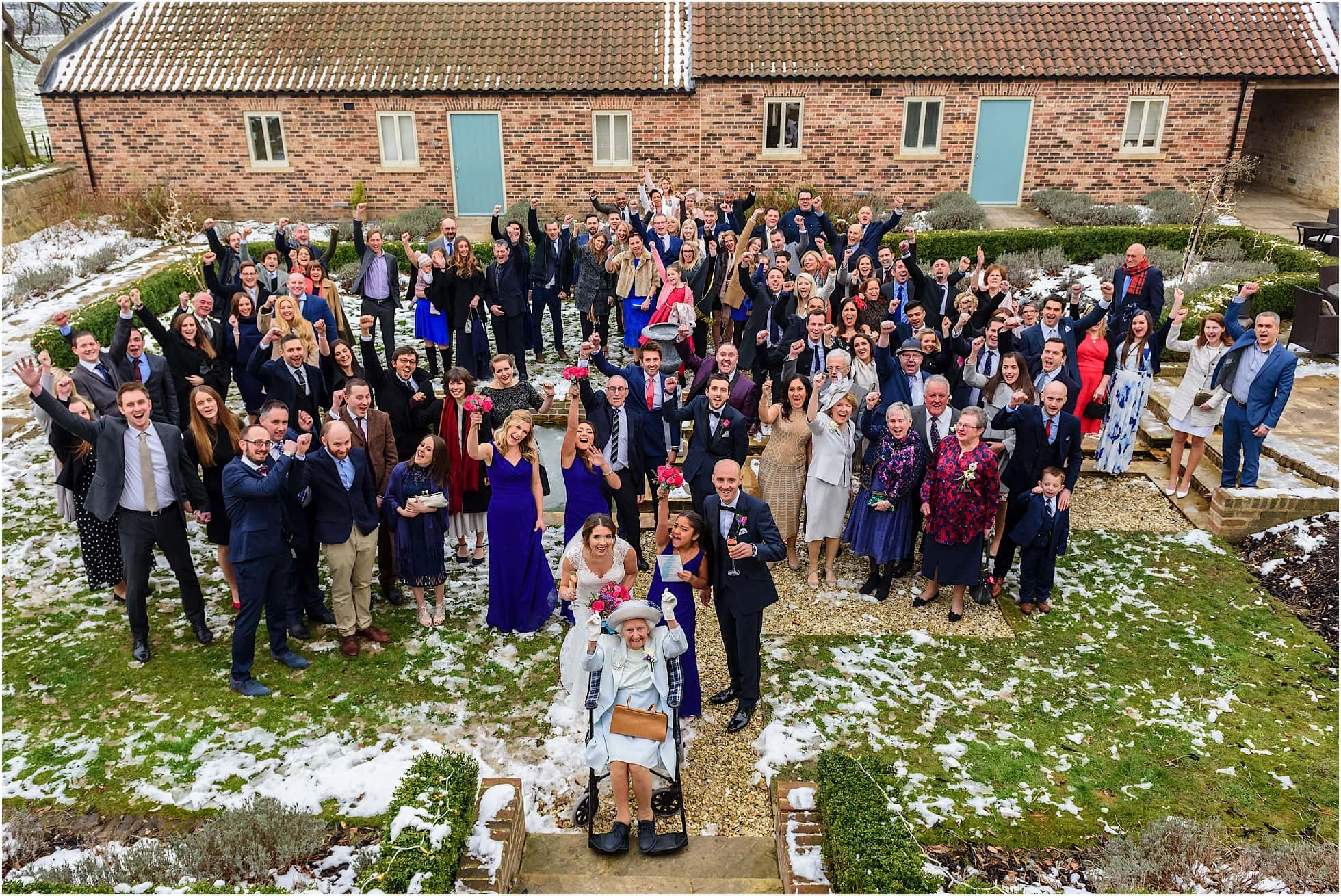 Whole group shot at priory cottages