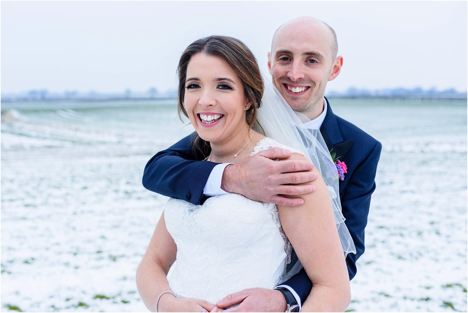Snowy wedding photo in Yorkshire