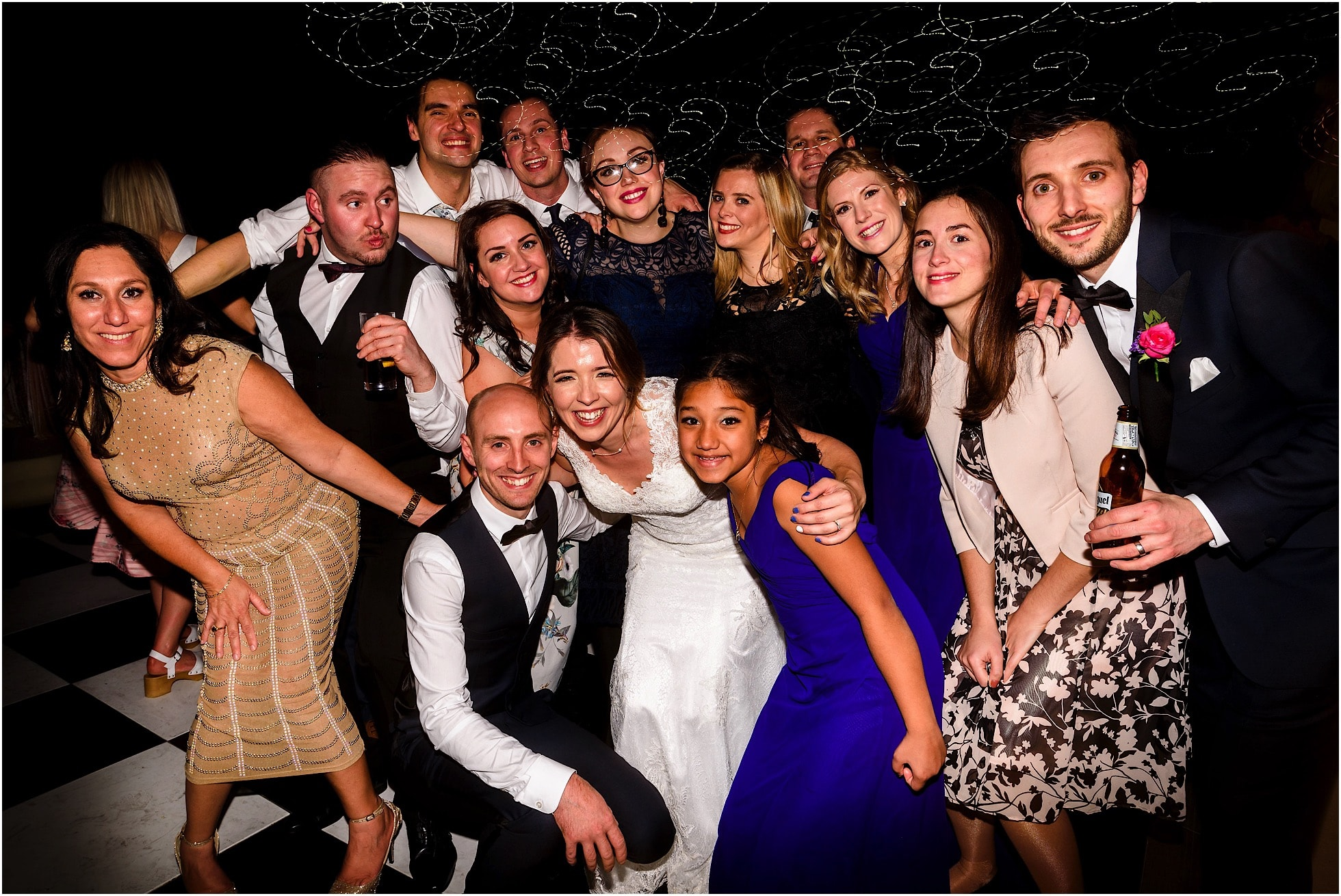Groups shot on dancefloor at Priory Cottages