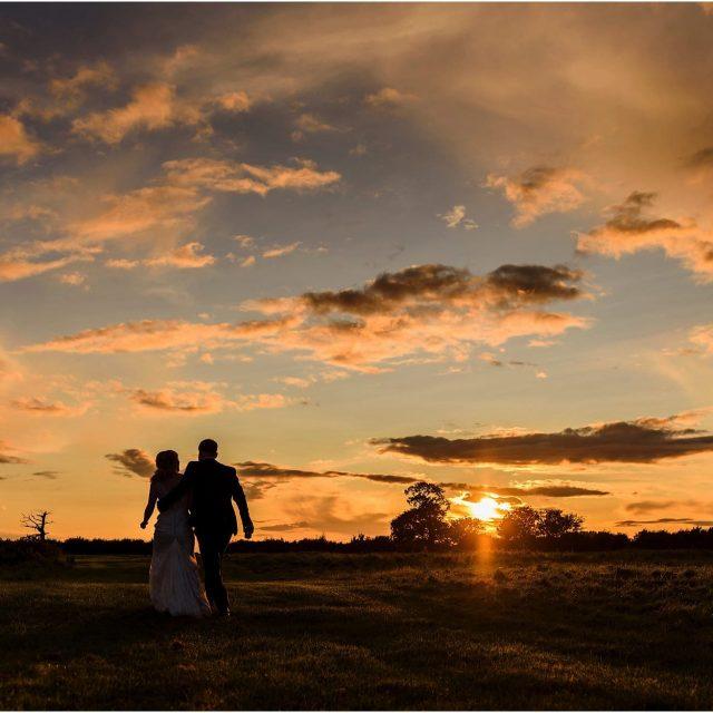 Norfolk Wedding Photographer sunset shot at Godwick Great Barn & Hall