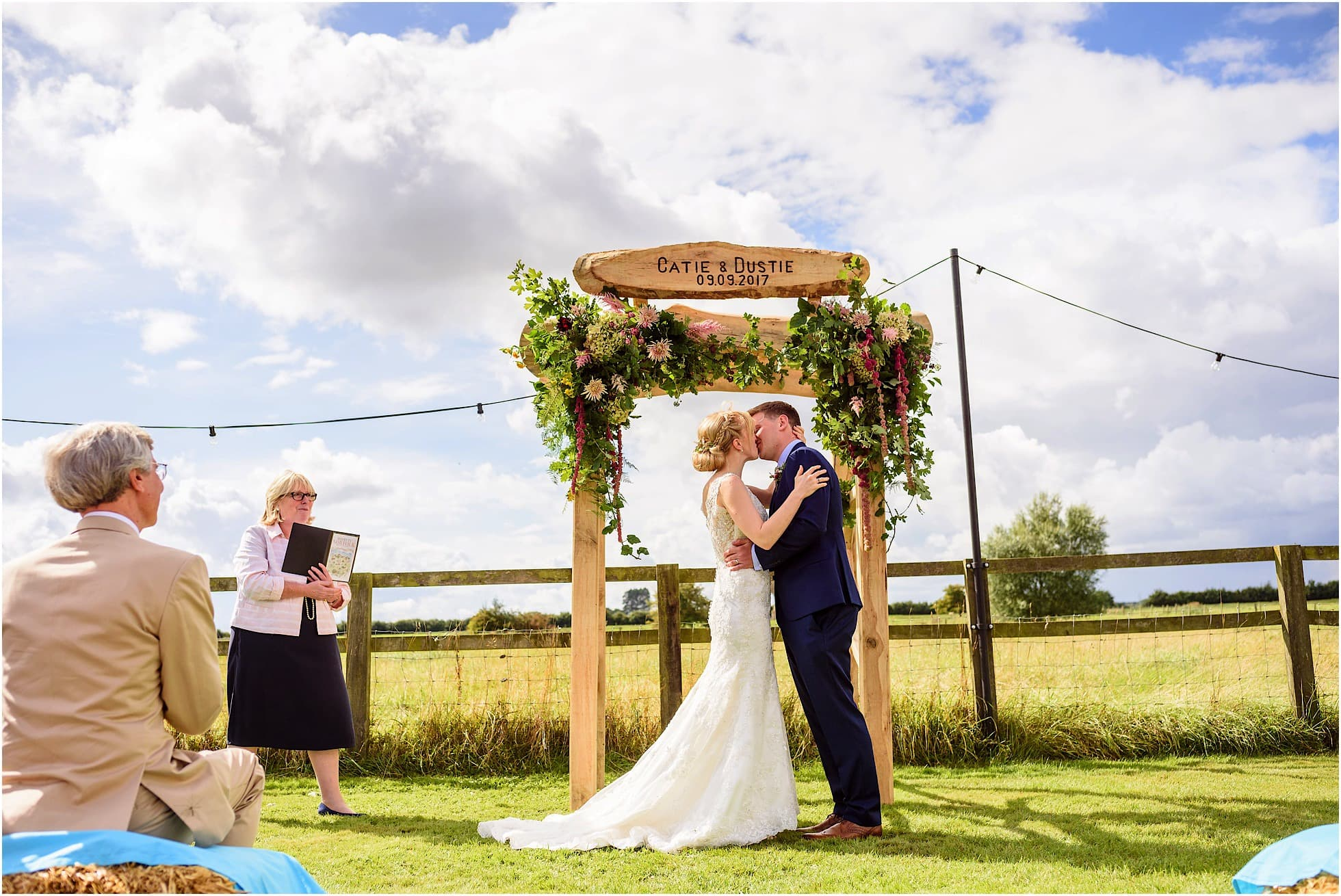 outdoor wedding ceremony at a norfolk wedding venue