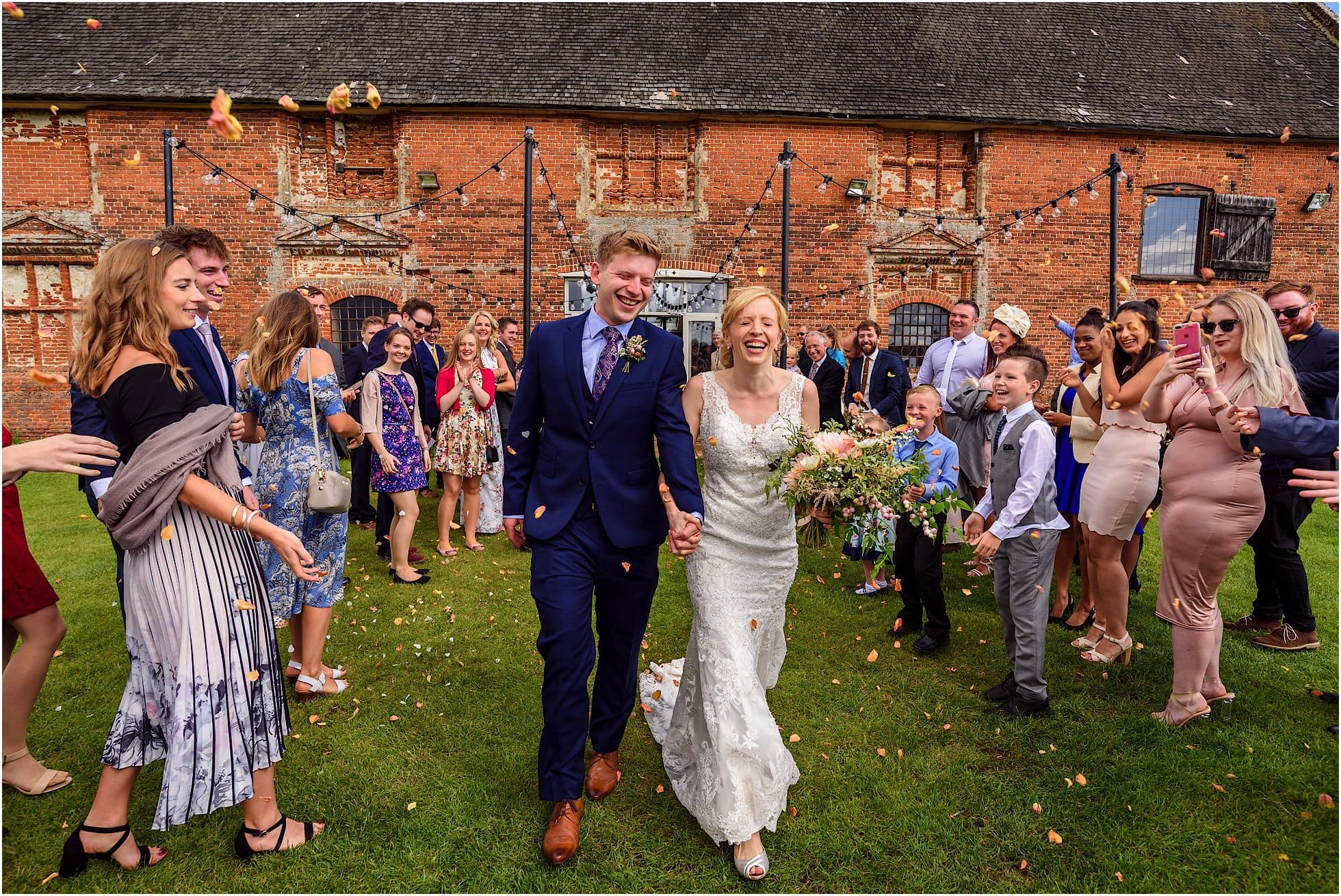 confetti in front of godwick barn