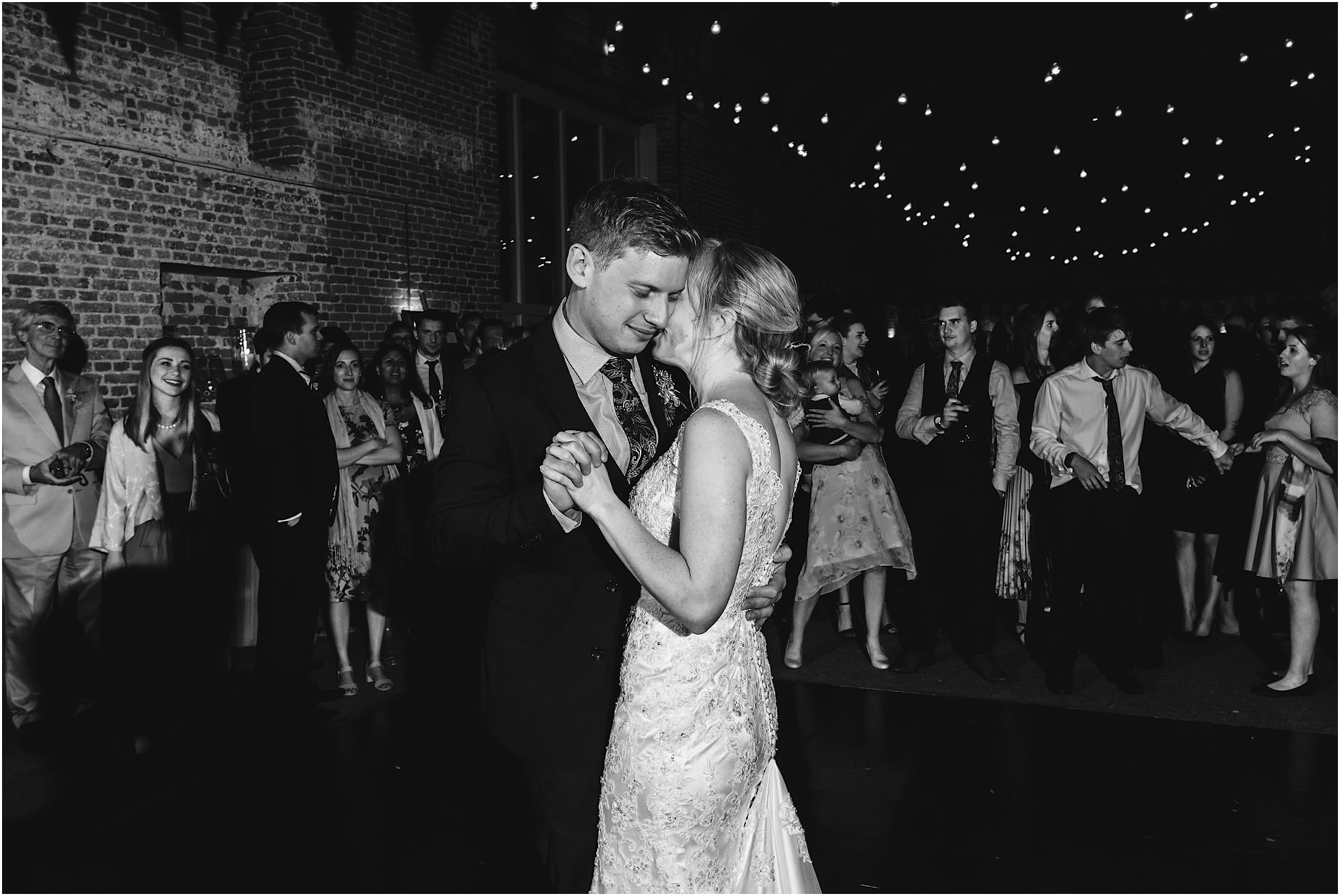 first dance at godwick great barn wedding