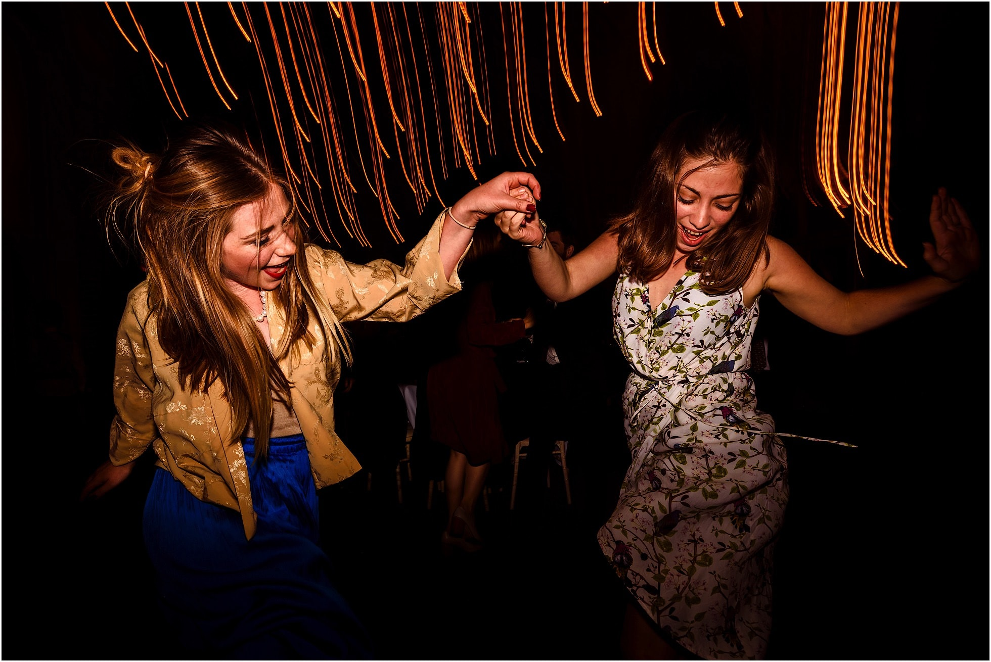 partying at godwick barn wedding