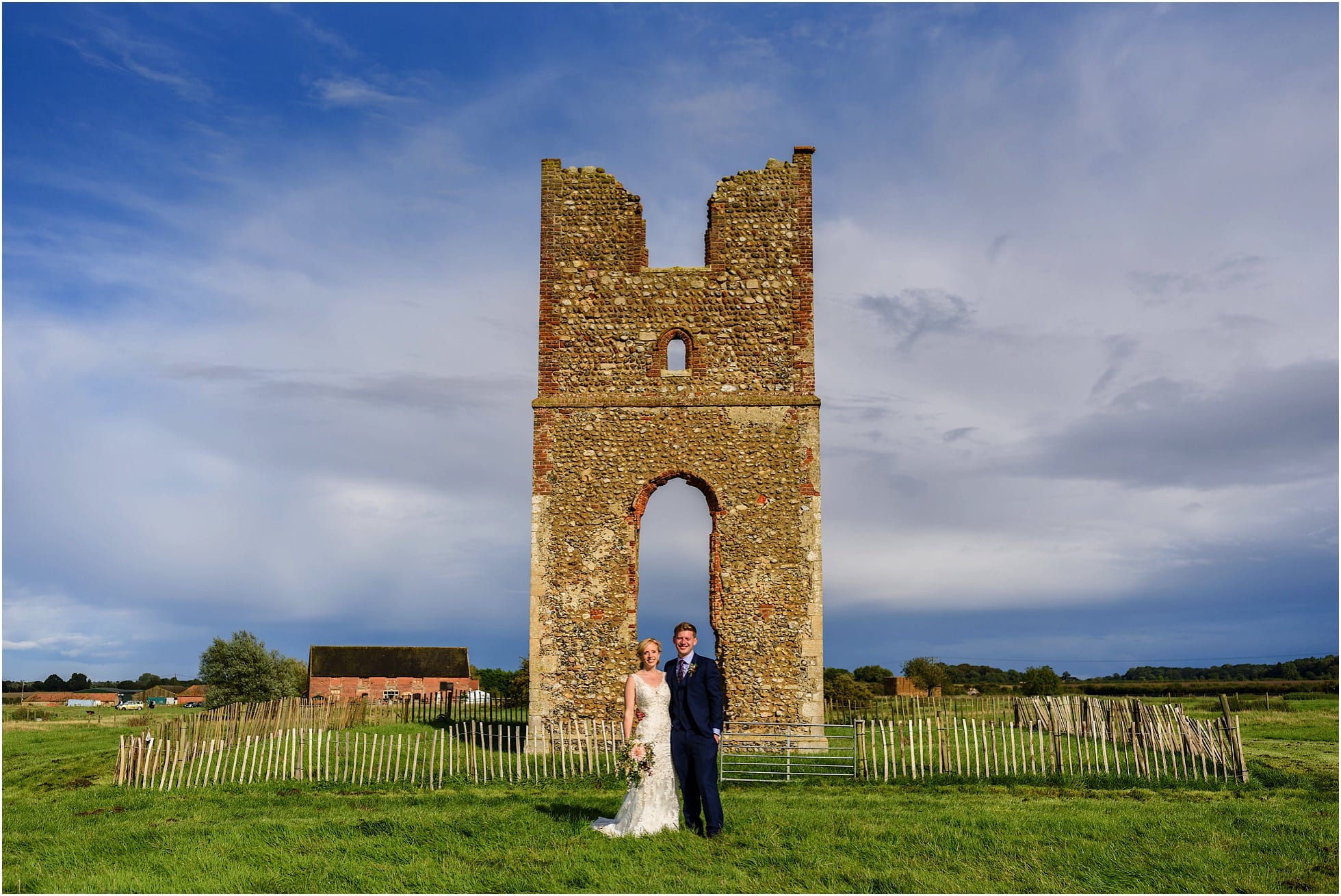Godwick Hall Wedding Photographer shot of the ancient arch