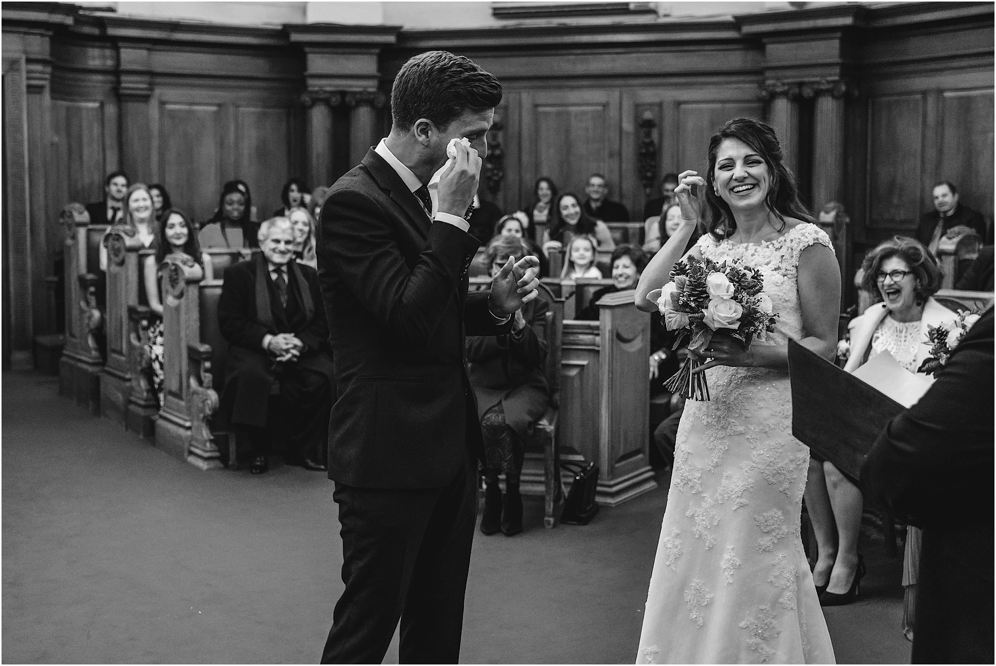 groom cries during london wedding