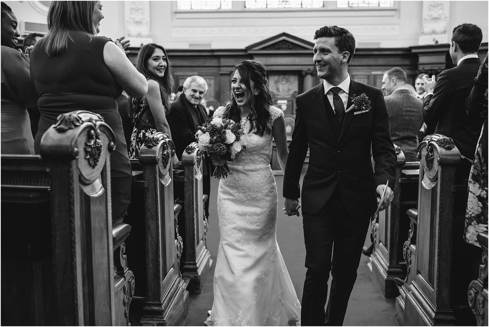 laughter as bride and groom leave