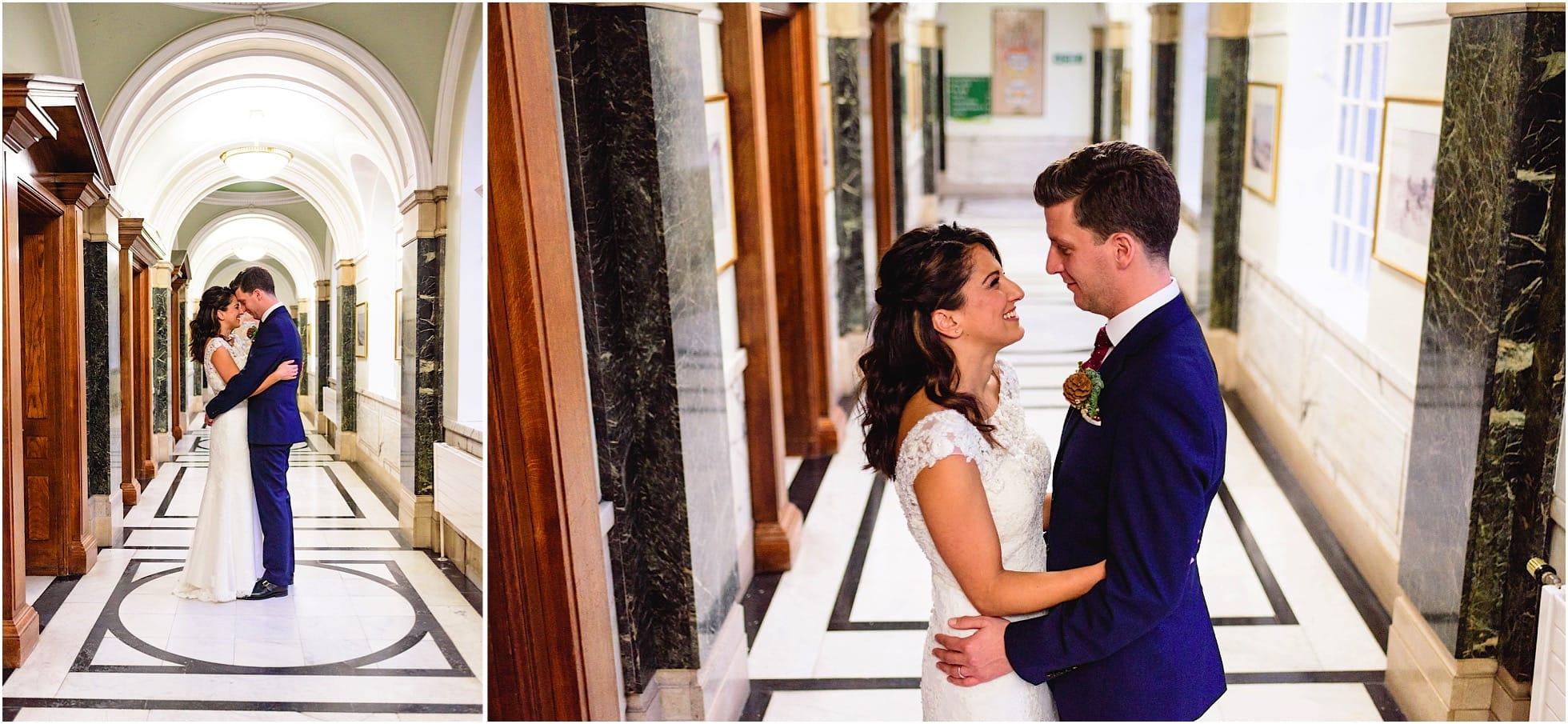 corridors of islington town hall for wedding photos