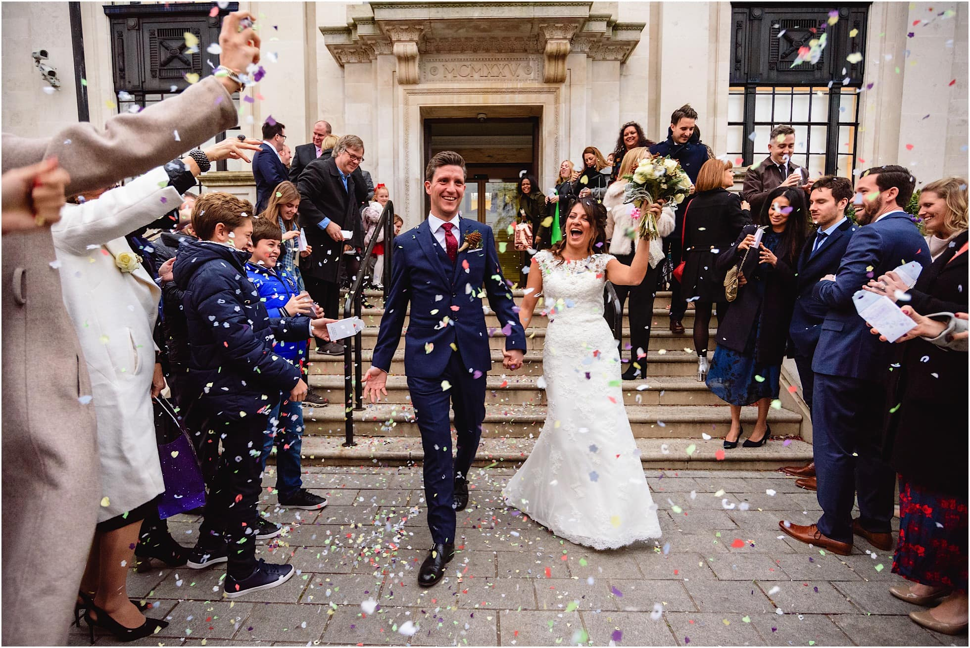 wedding photography islington town hall confetti photo