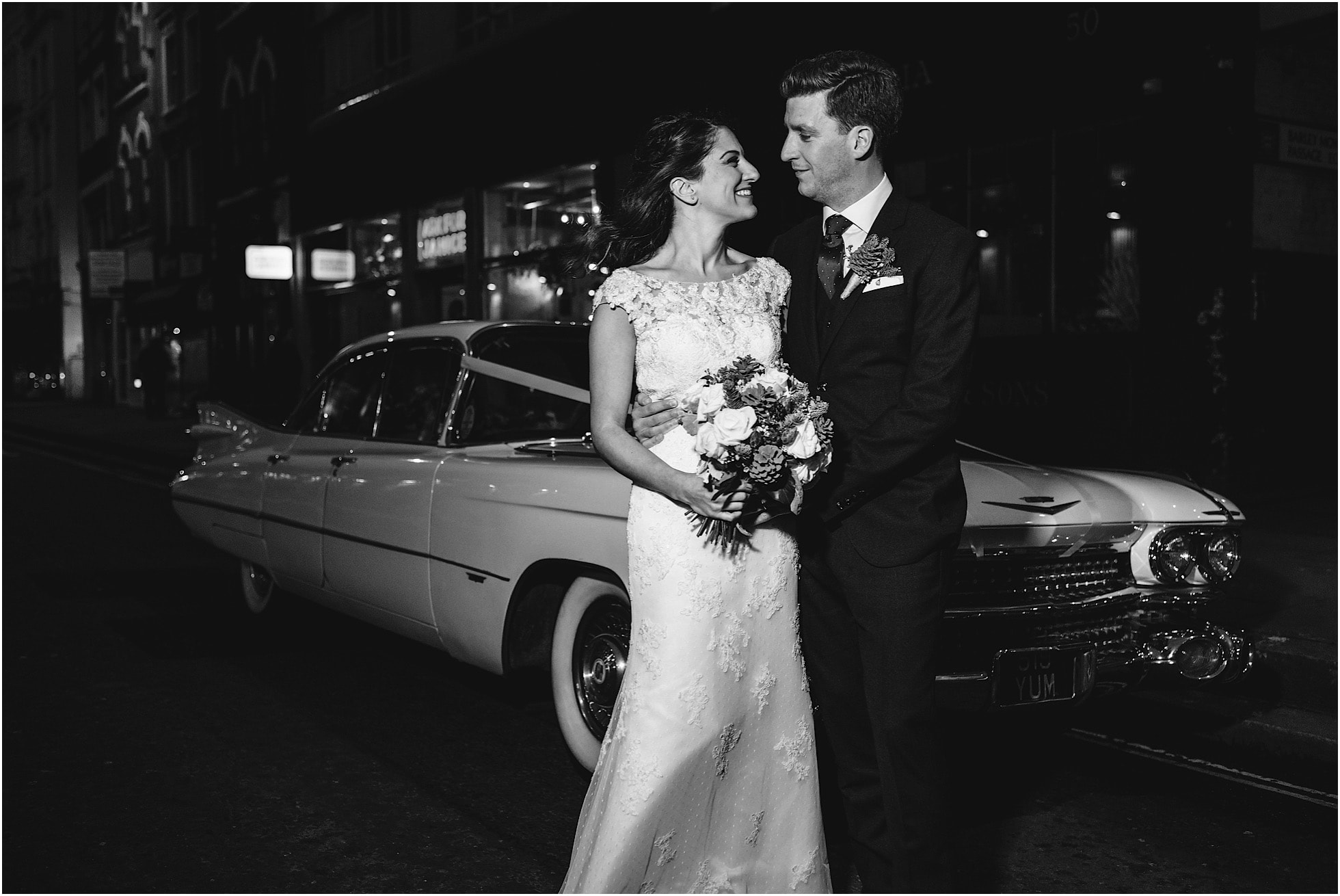 old american cadillac wedding photo